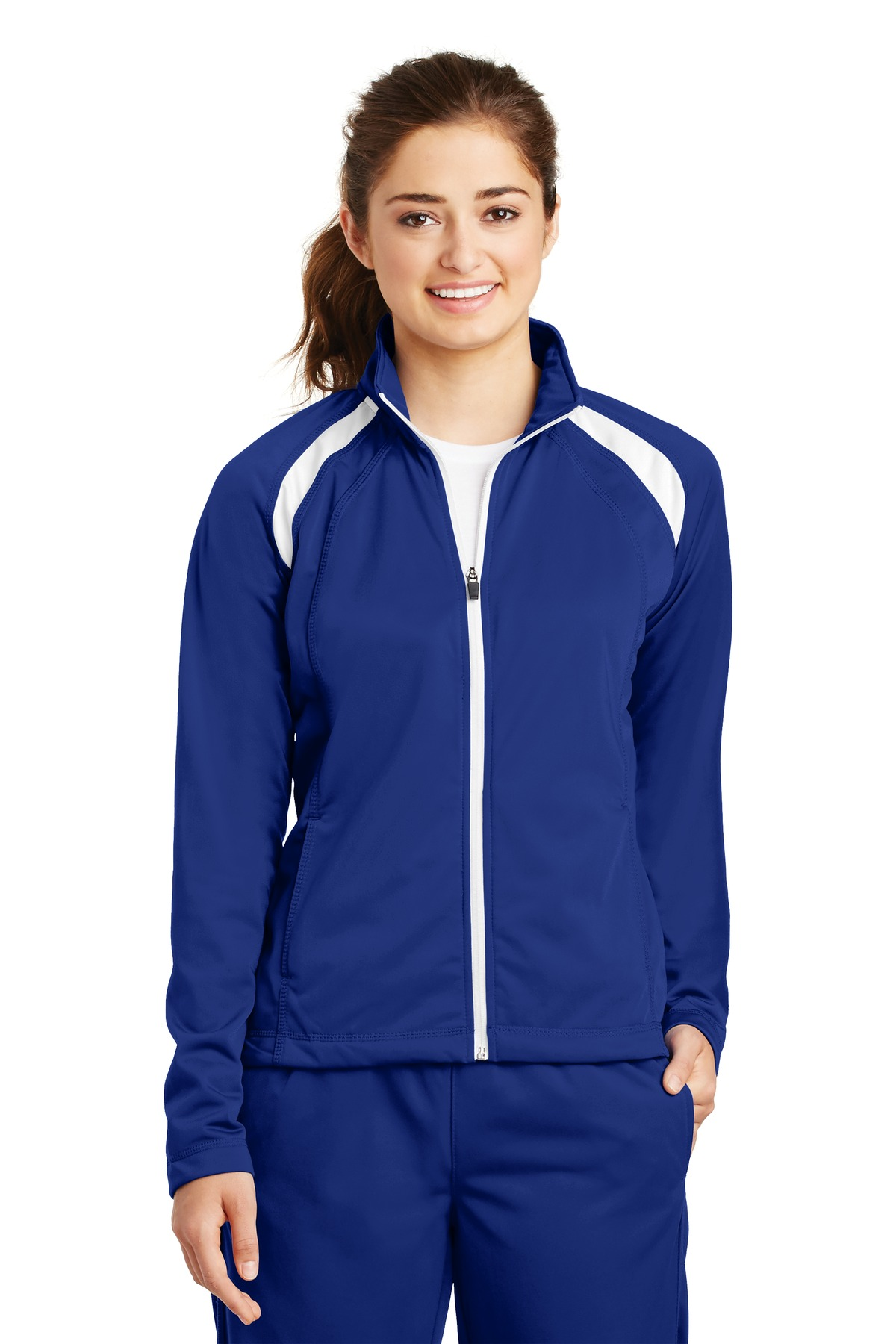 Sport-Tek ®  Ladies Tricot Track Jacket. LST90 - True Royal/White