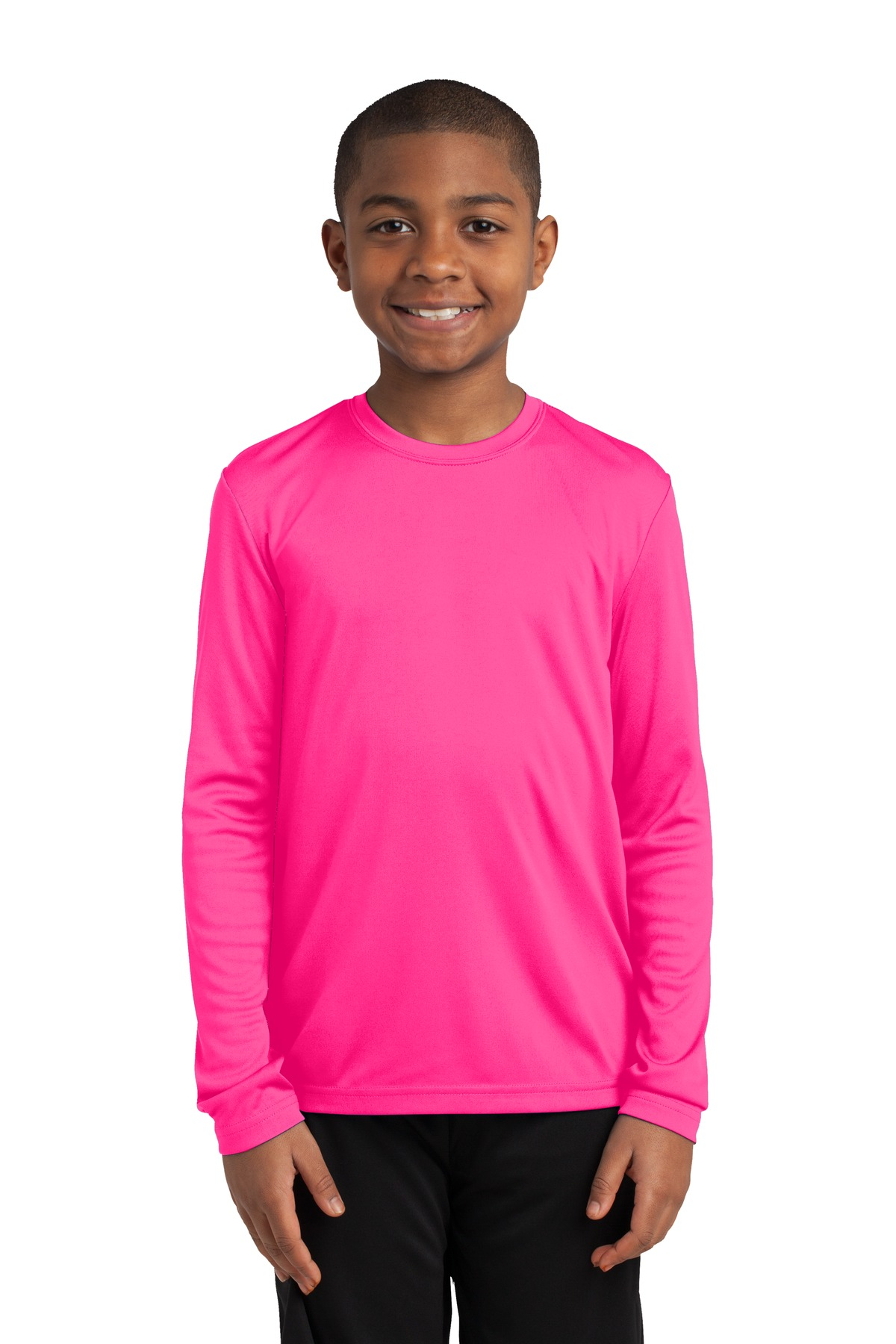 Sport-Tek ®  Youth Long Sleeve PosiCharge ®  Competitor™ Tee. YST350LS - Neon Pink