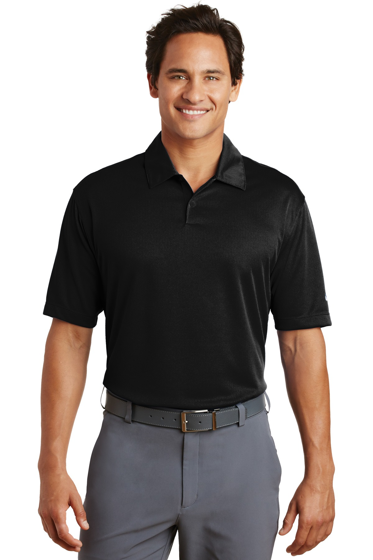 Nike Dri-FIT Pebble Texture Polo. 373749 - Black