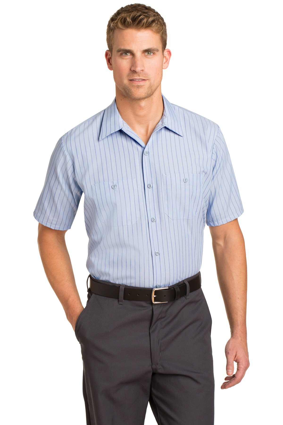 Red Kap ®  Short Sleeve Striped Industrial Work Shirt.  CS20 - Light Blue/ Navy