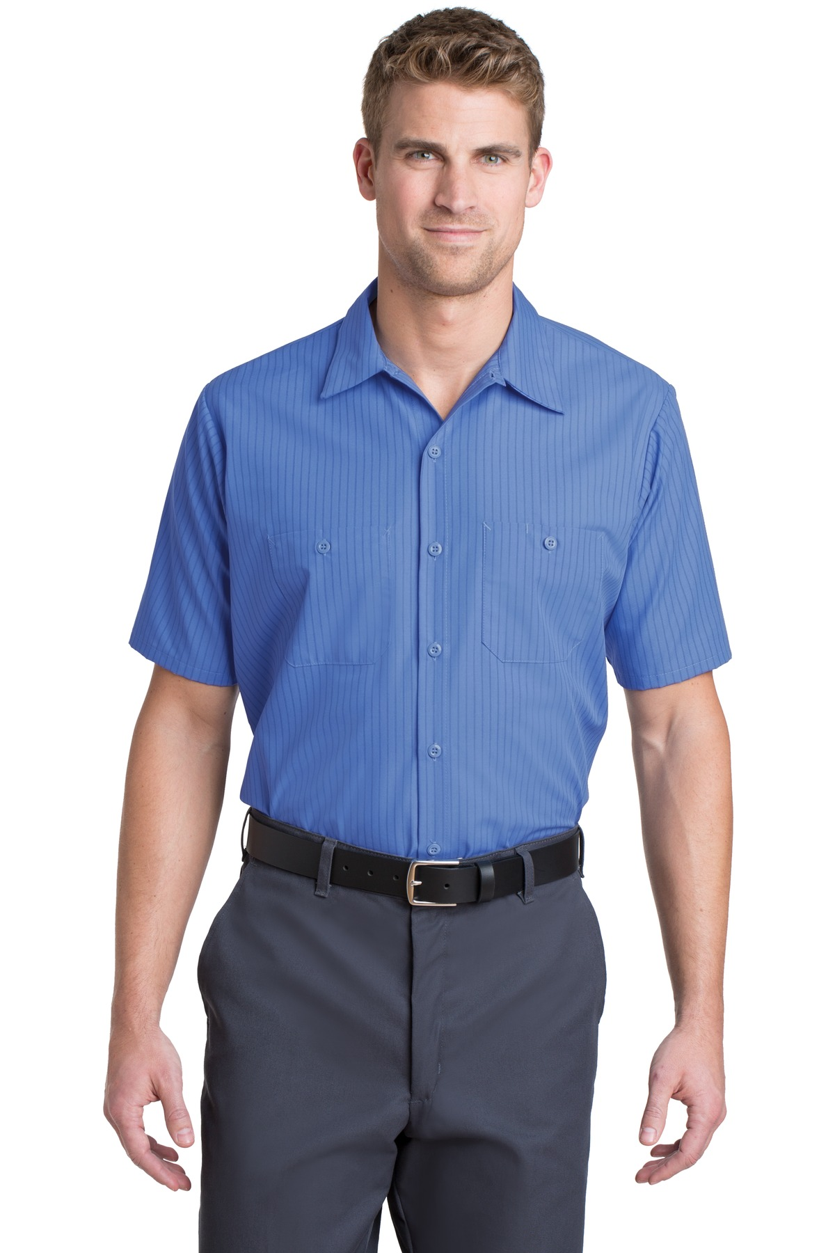 Red Kap ®  Short Sleeve Striped Industrial Work Shirt.  CS20 - Petrol Blue/ Navy