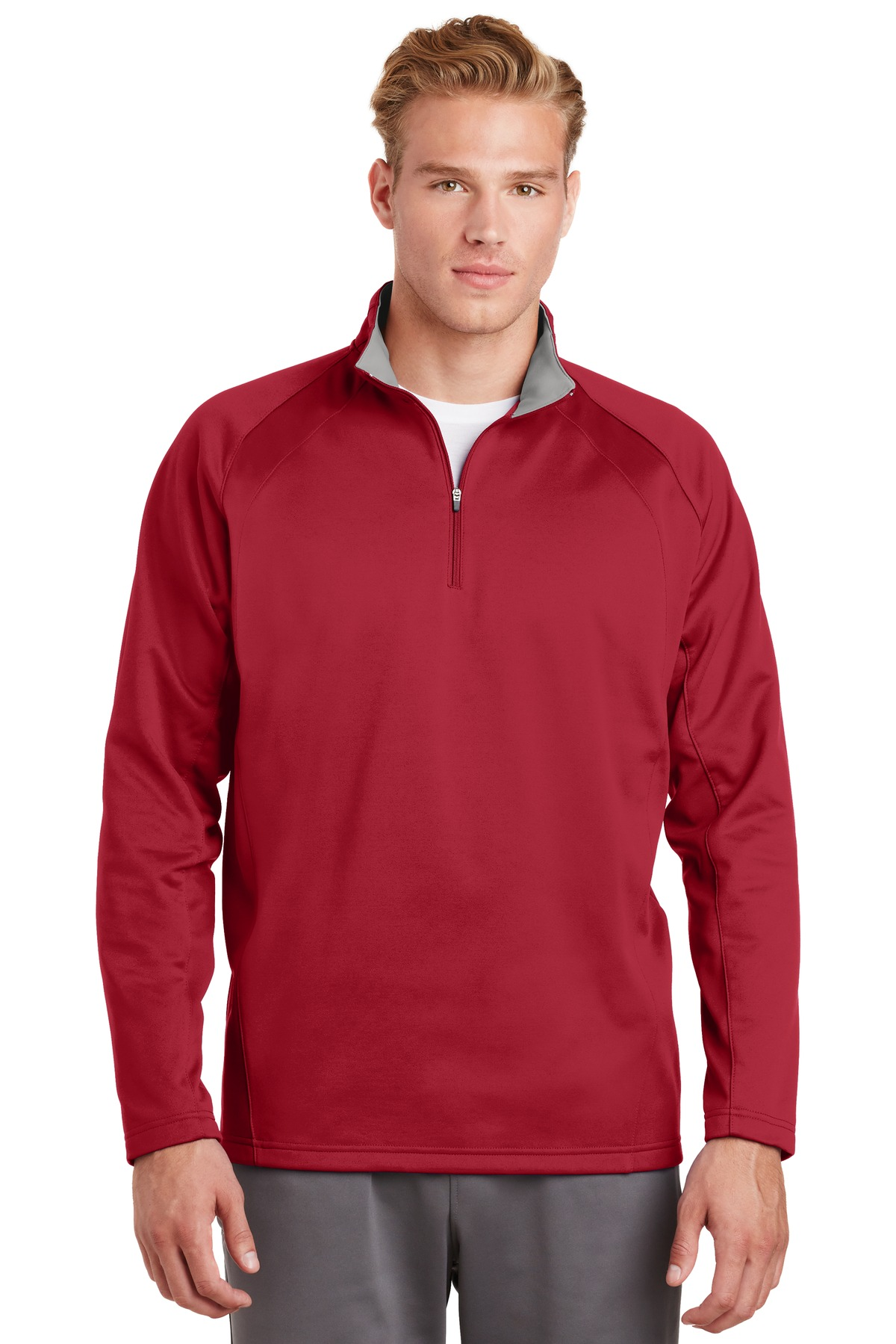 Sport-Tek ®  Sport-Wick ®  Fleece 1/4-Zip Pullover.  F243 - Deep Red/ Silver