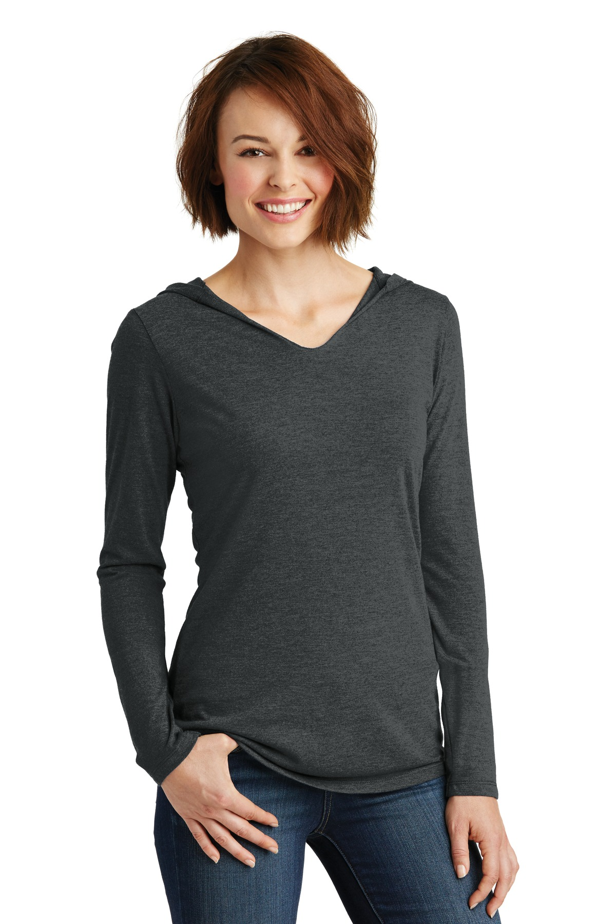 District ®  Women's Perfect Tri ®  Long Sleeve Hoodie. DM139L - Black Frost