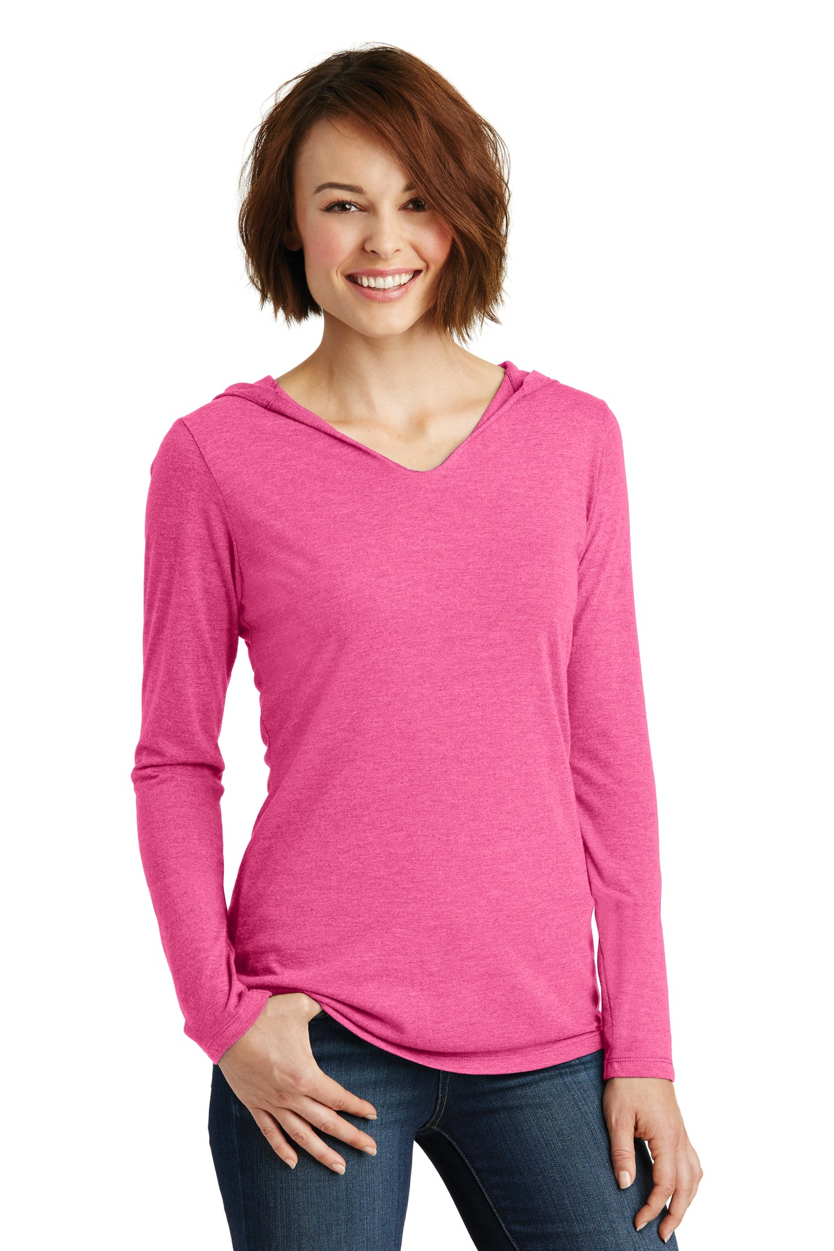 District ®  Women's Perfect Tri ®  Long Sleeve Hoodie. DM139L - Fuchsia Frost