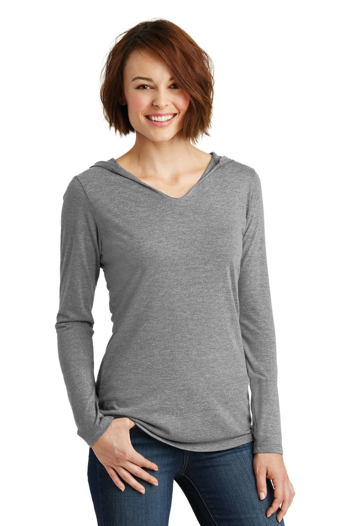 District ®  Women's Perfect Tri ®  Long Sleeve Hoodie. DM139L - Grey Frost