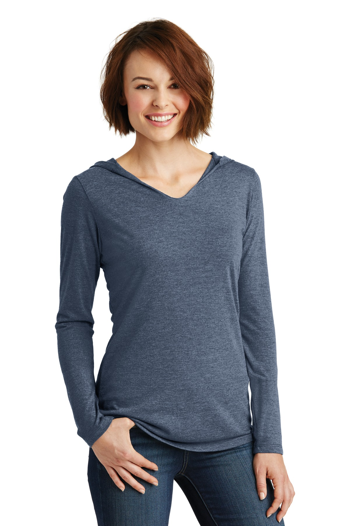 District ®  Women's Perfect Tri ®  Long Sleeve Hoodie. DM139L - Navy Frost