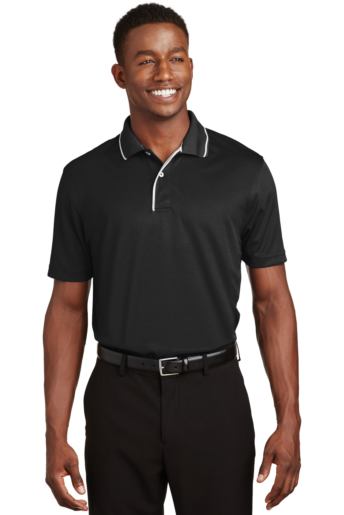 Sport-Tek ®  Dri-Mesh ®  Polo with Tipped Collar and Piping.  K467 - Black/ White