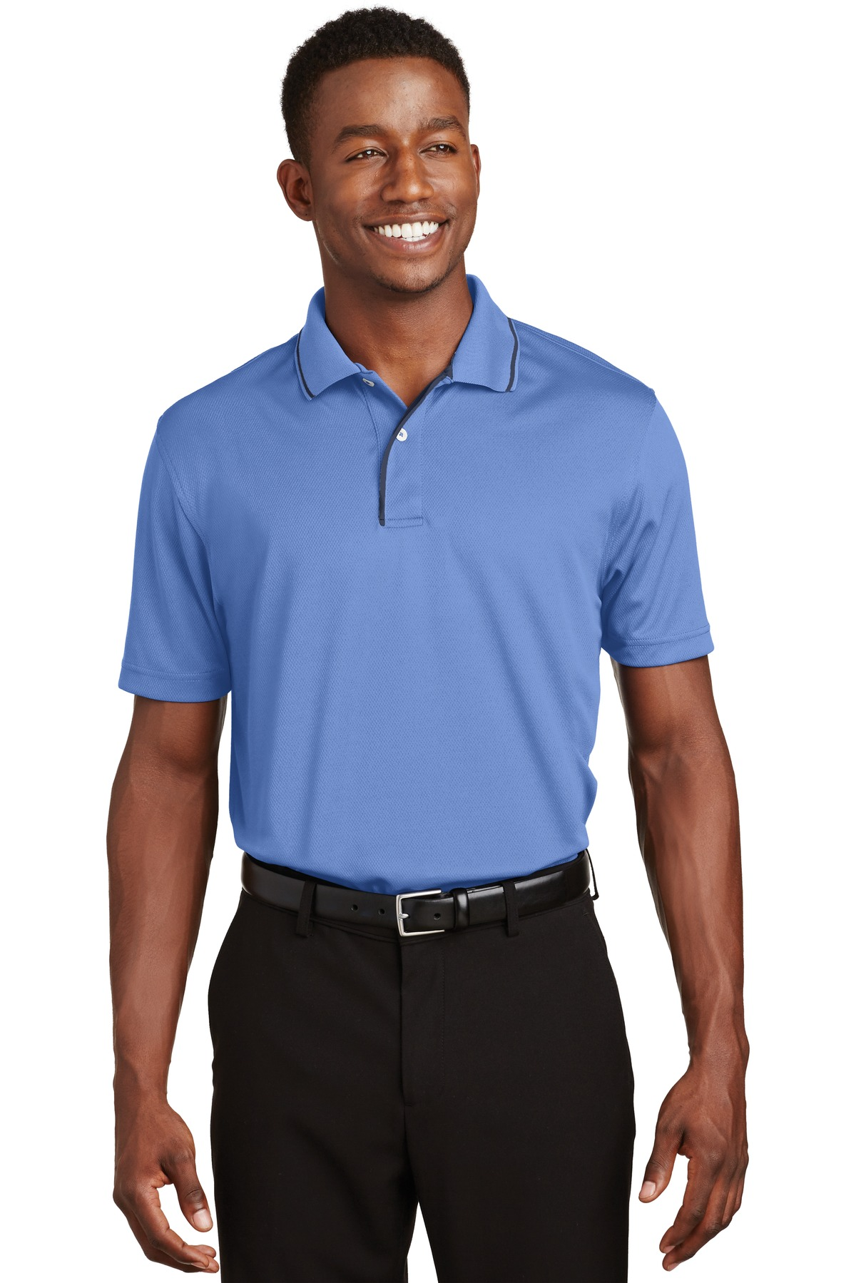 Sport-Tek ®  Dri-Mesh ®  Polo with Tipped Collar and Piping.  K467 - Blueberry/ Navy