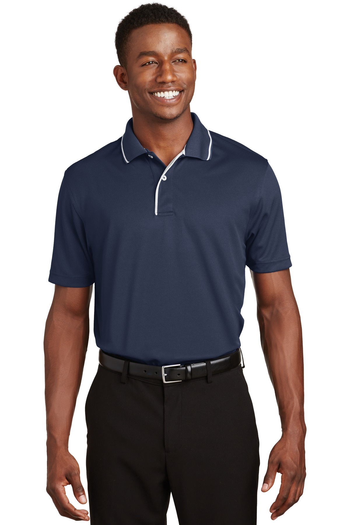 Sport-Tek ®  Dri-Mesh ®  Polo with Tipped Collar and Piping.  K467 - Navy/ White