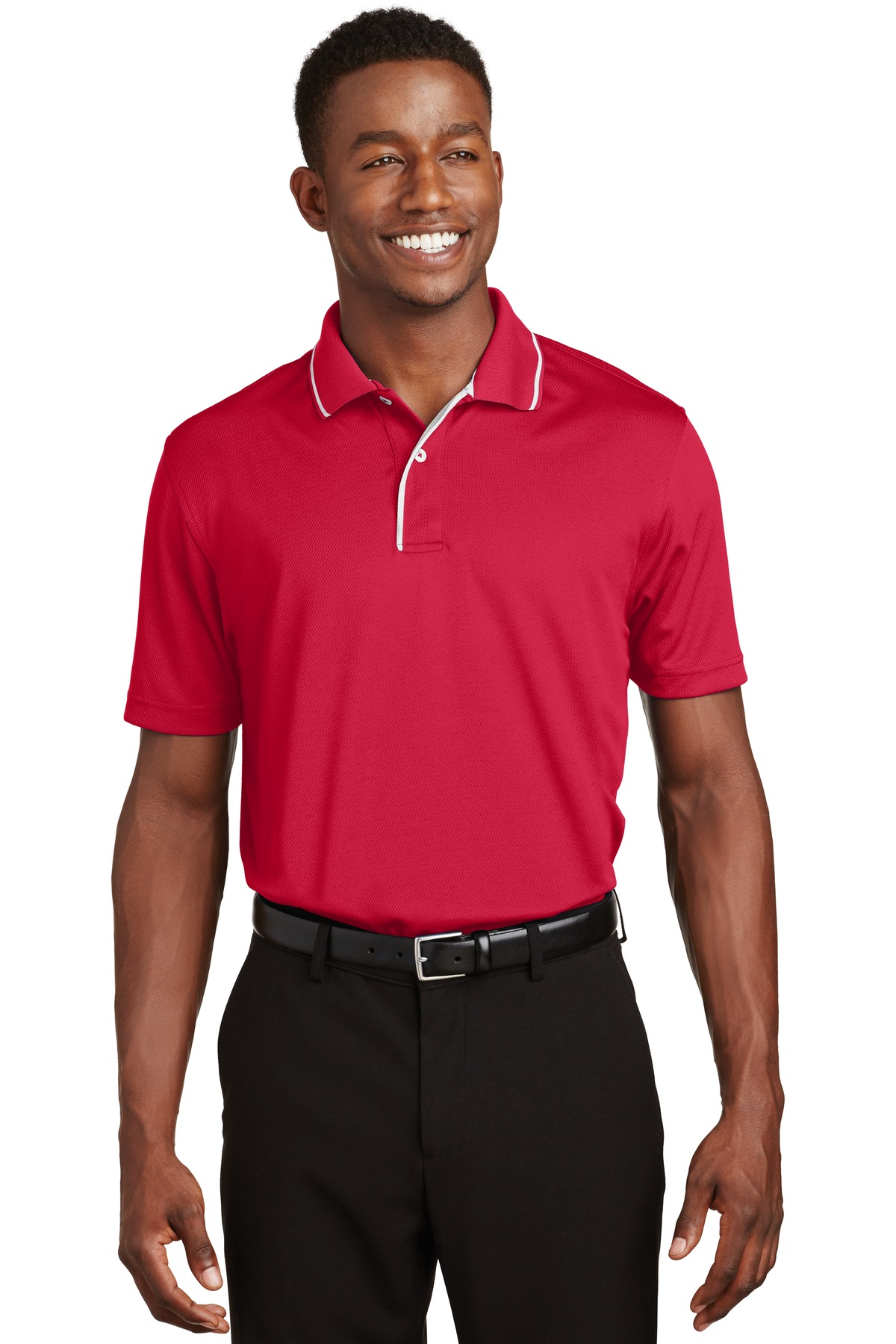 Sport-Tek ®  Dri-Mesh ®  Polo with Tipped Collar and Piping.  K467 - Red/ White