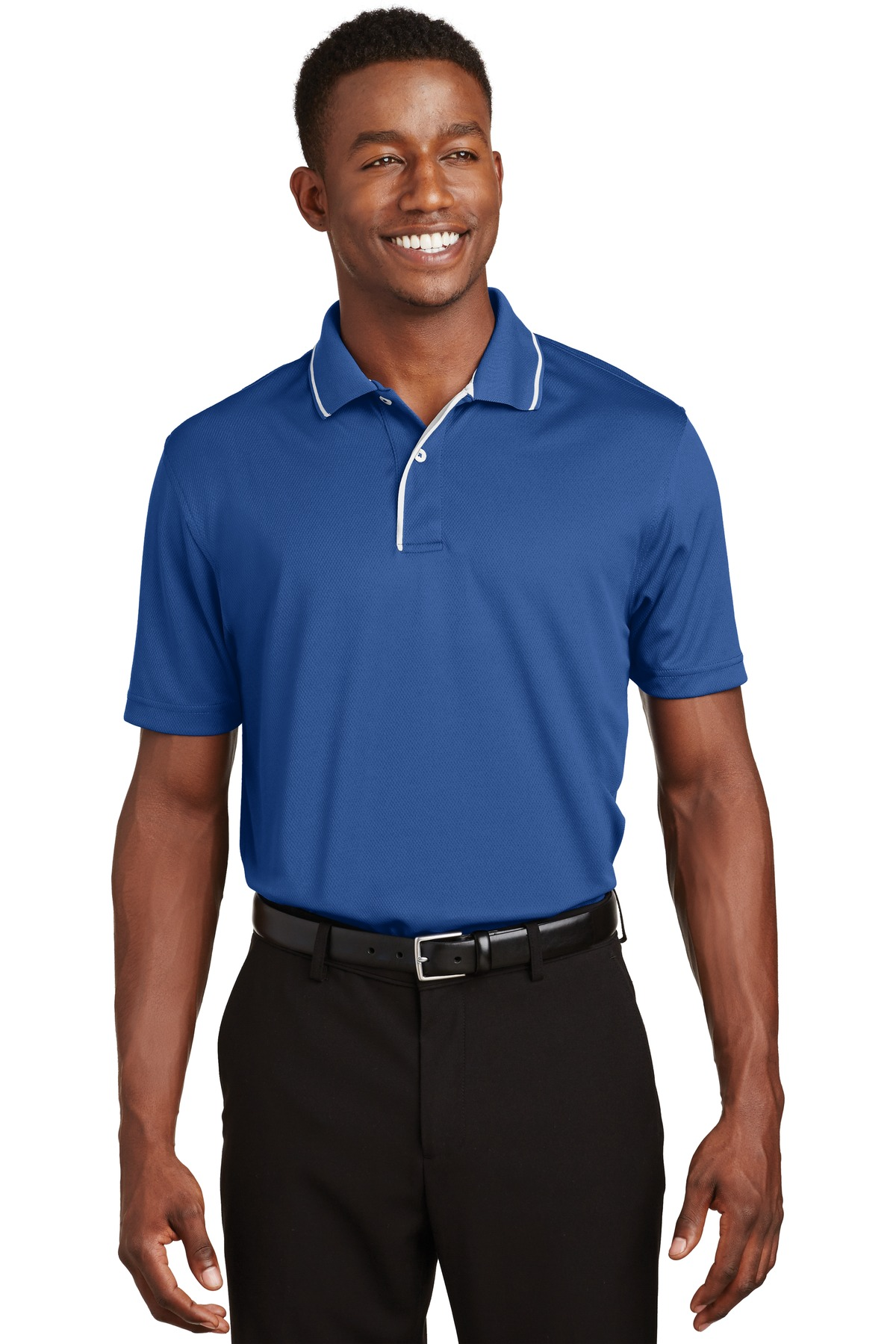 Sport-Tek ®  Dri-Mesh ®  Polo with Tipped Collar and Piping.  K467 - Royal/ White