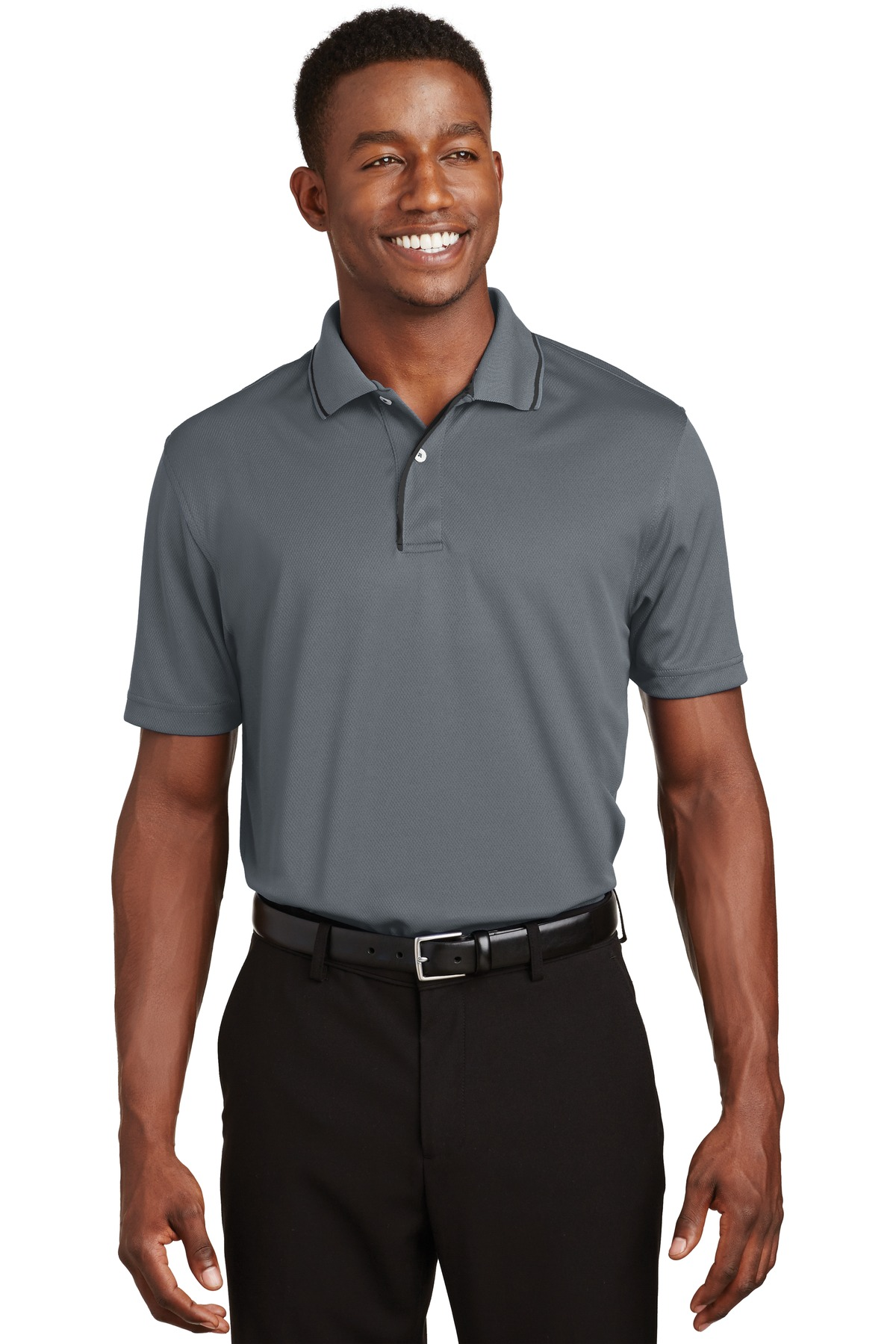 Sport-Tek ®  Dri-Mesh ®  Polo with Tipped Collar and Piping.  K467 - Steel/ Black