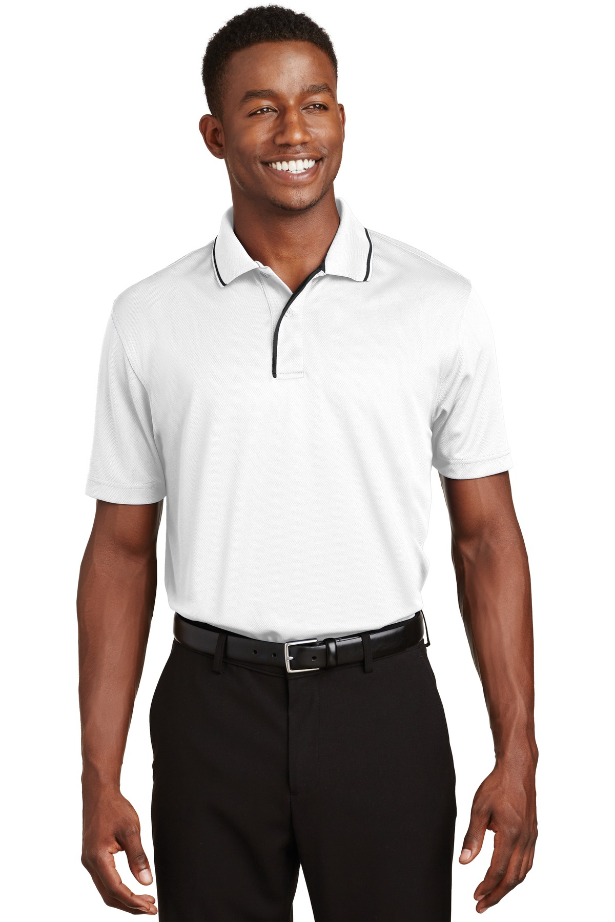 Sport-Tek ®  Dri-Mesh ®  Polo with Tipped Collar and Piping.  K467 - White/ Black