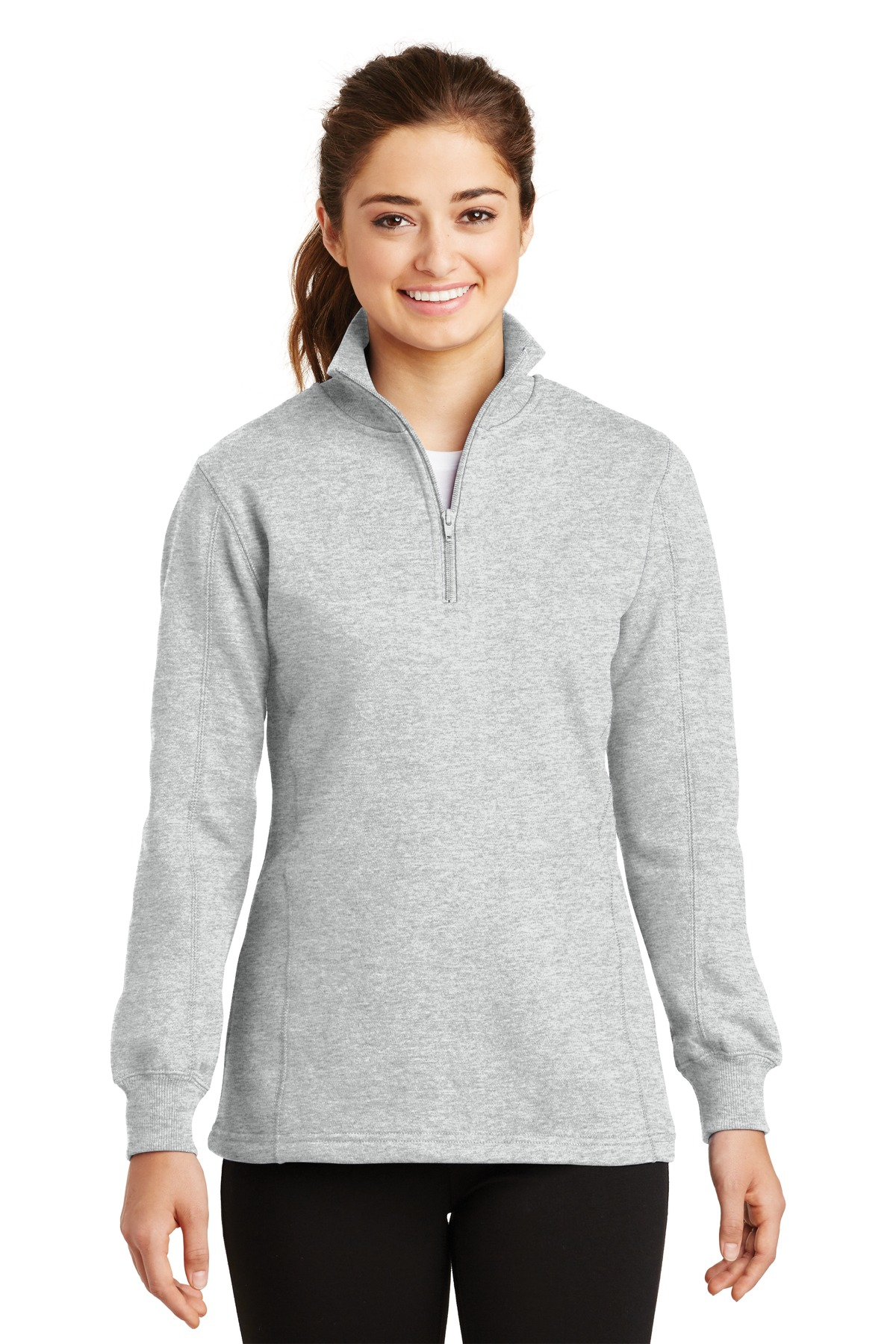 Sport-Tek ®  Ladies 1/4-Zip Sweatshirt. LST253 - Athletic Heather