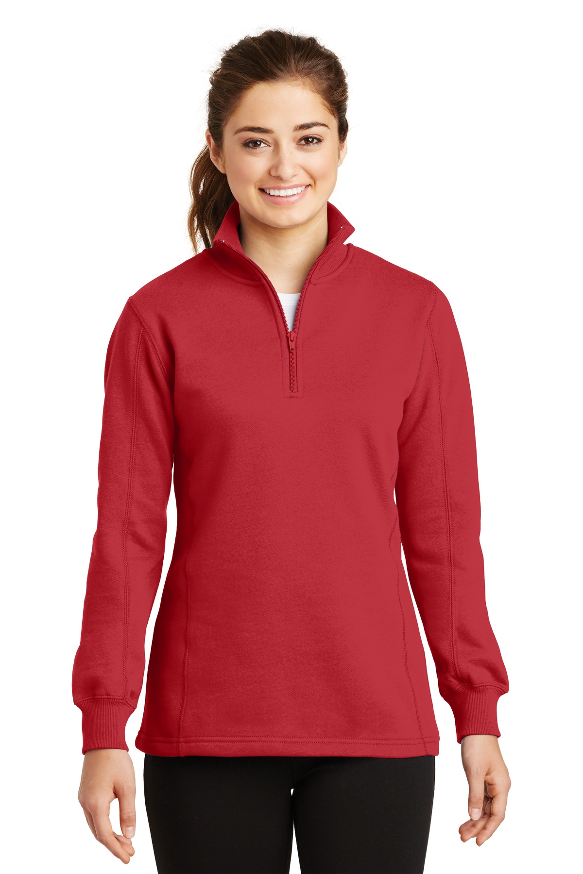 Sport-Tek ®  Ladies 1/4-Zip Sweatshirt. LST253 - True Red