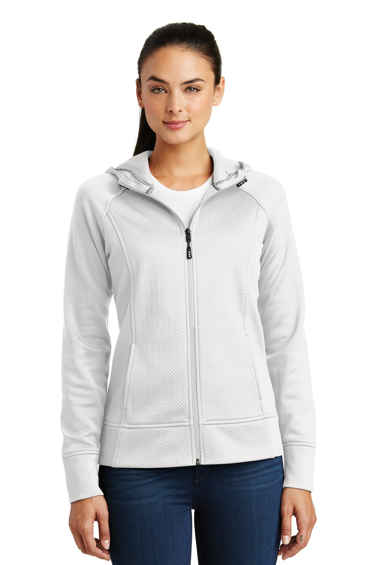 Sport-Tek ®  Ladies Rival Tech Fleece Full-Zip Hooded Jacket. LST295 - White