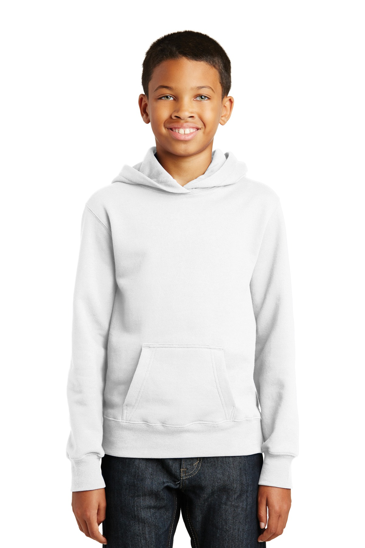 Port & Company ®  Youth Fan Favorite Fleece Pullover Hooded Sweatshirt. PC850YH - White