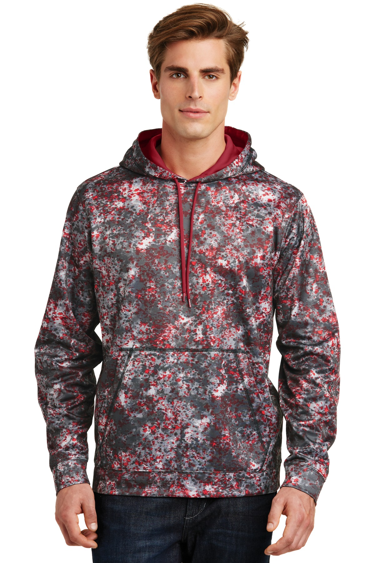 Sport-Tek ®  Sport-Wick ®  Mineral Freeze Fleece Hooded Pullover. ST230 - Deep Red
