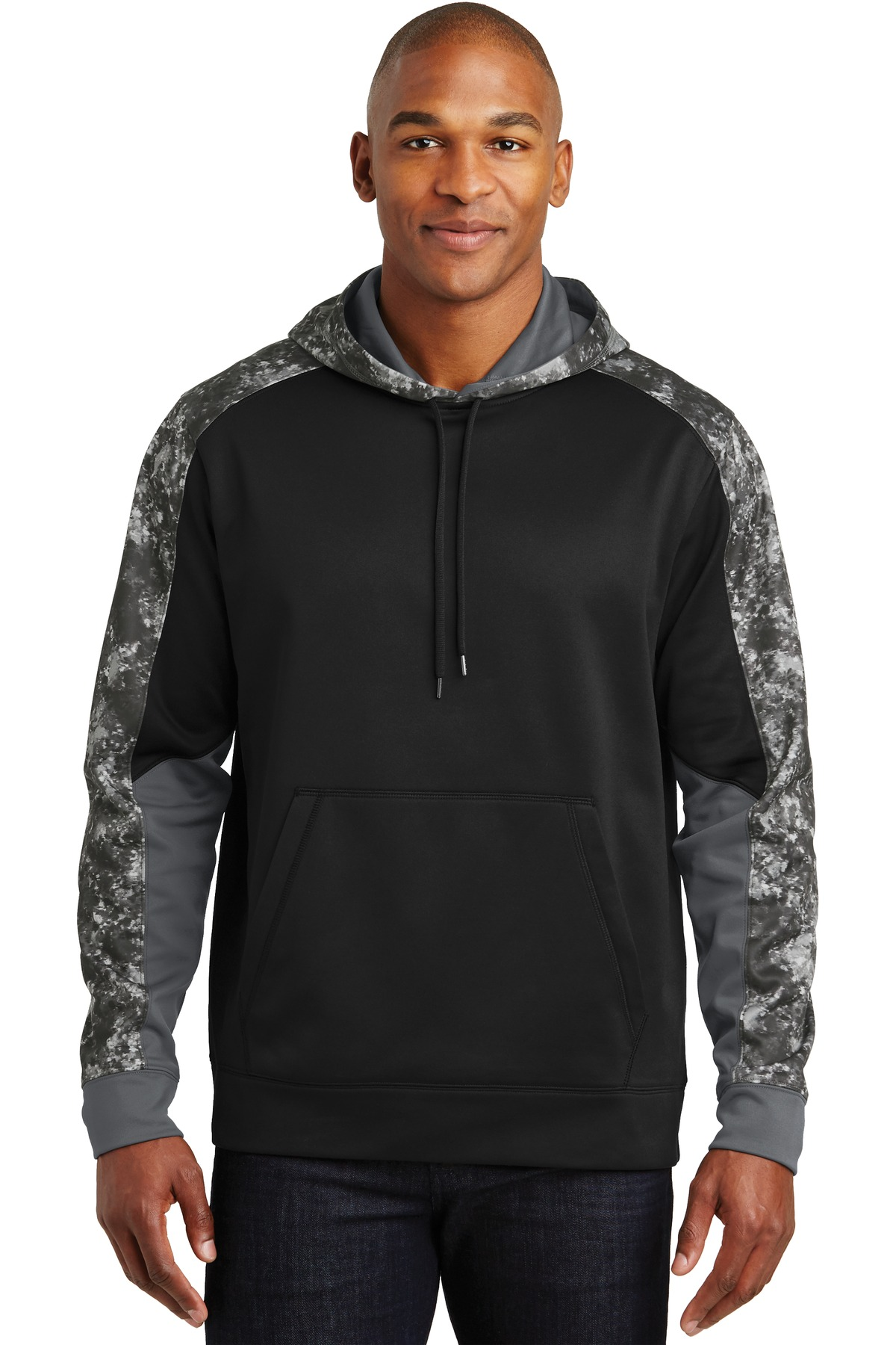 Sport-Tek ®  Sport-Wick ®  Mineral Freeze Fleece Colorblock Hooded Pullover. ST231 - Black/ Black