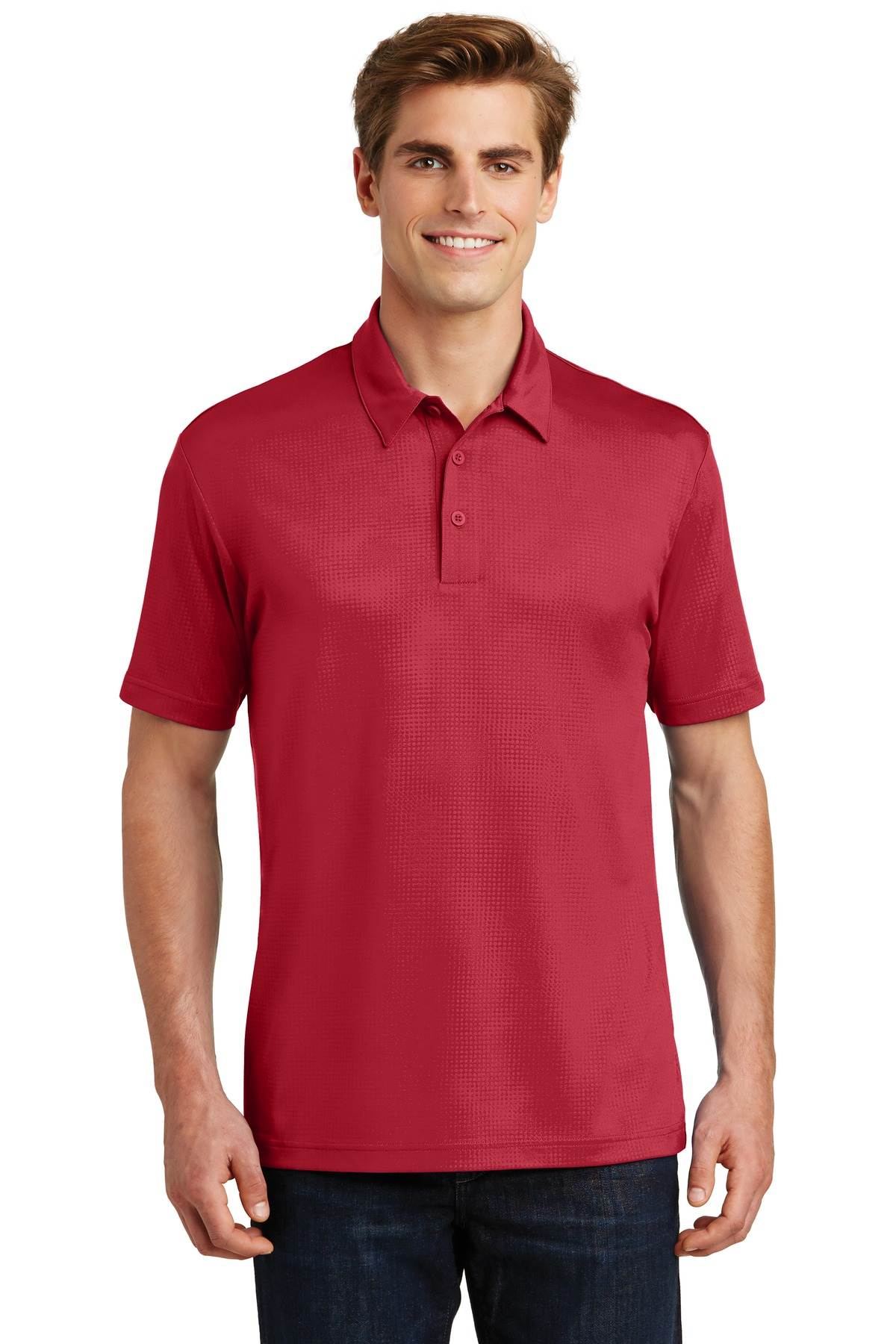 Sport-Tek ®  Embossed PosiCharge ®  Tough Polo ® . ST630 - Deep Red