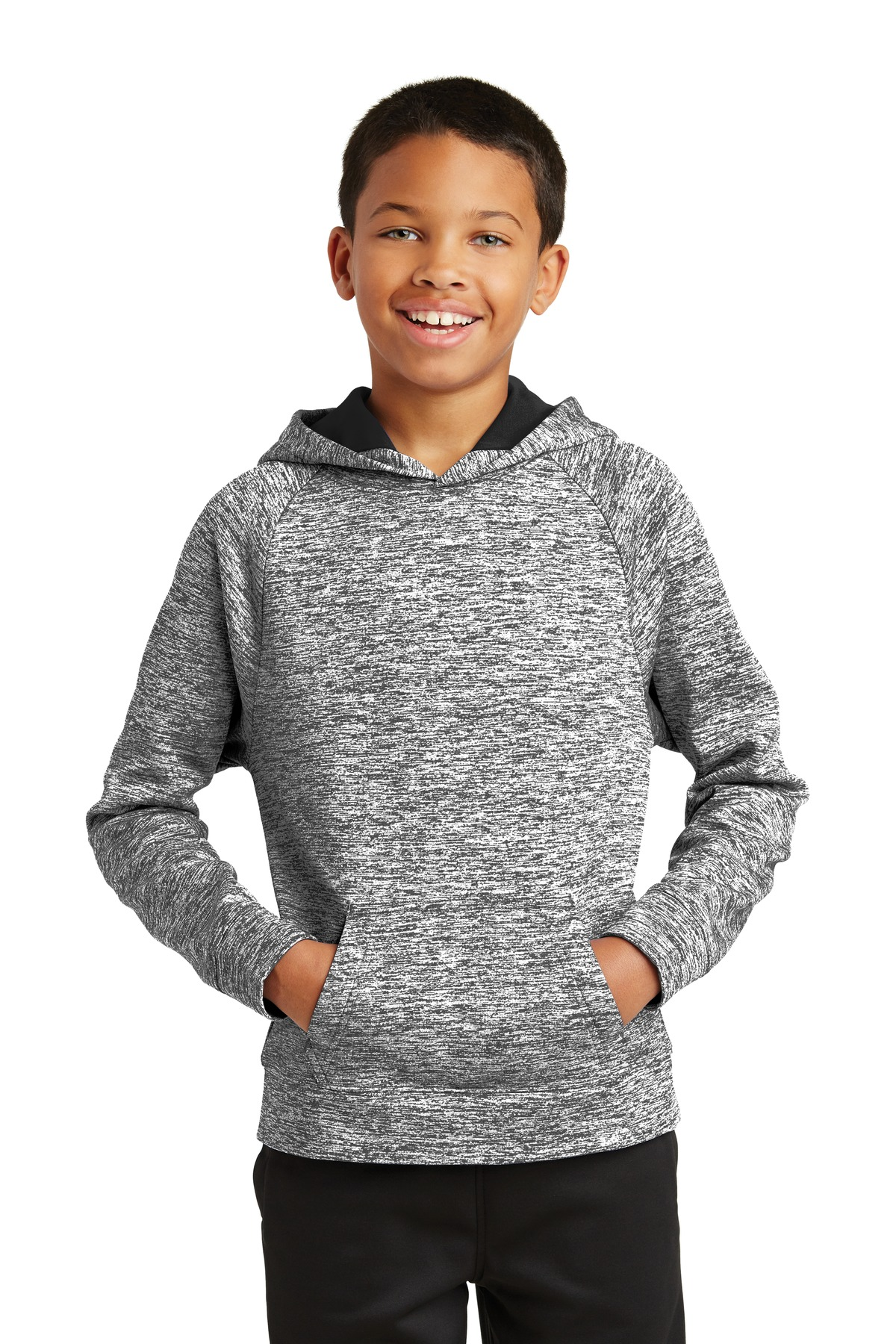 Sport-Tek ®  Youth PosiCharge ®  Electric Heather Fleece Hooded Pullover. YST225 - Black Electric