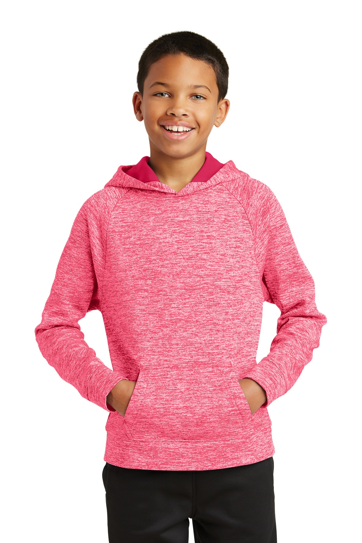 Sport-Tek ®  Youth PosiCharge ®  Electric Heather Fleece Hooded Pullover. YST225 - Power Pink Electric