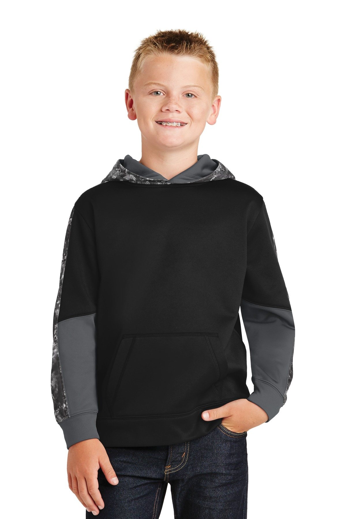 Sport-Tek ®  Youth Sport-Wick ®  Mineral Freeze Fleece Colorblock Hooded Pullover. YST231 - Black/ Black