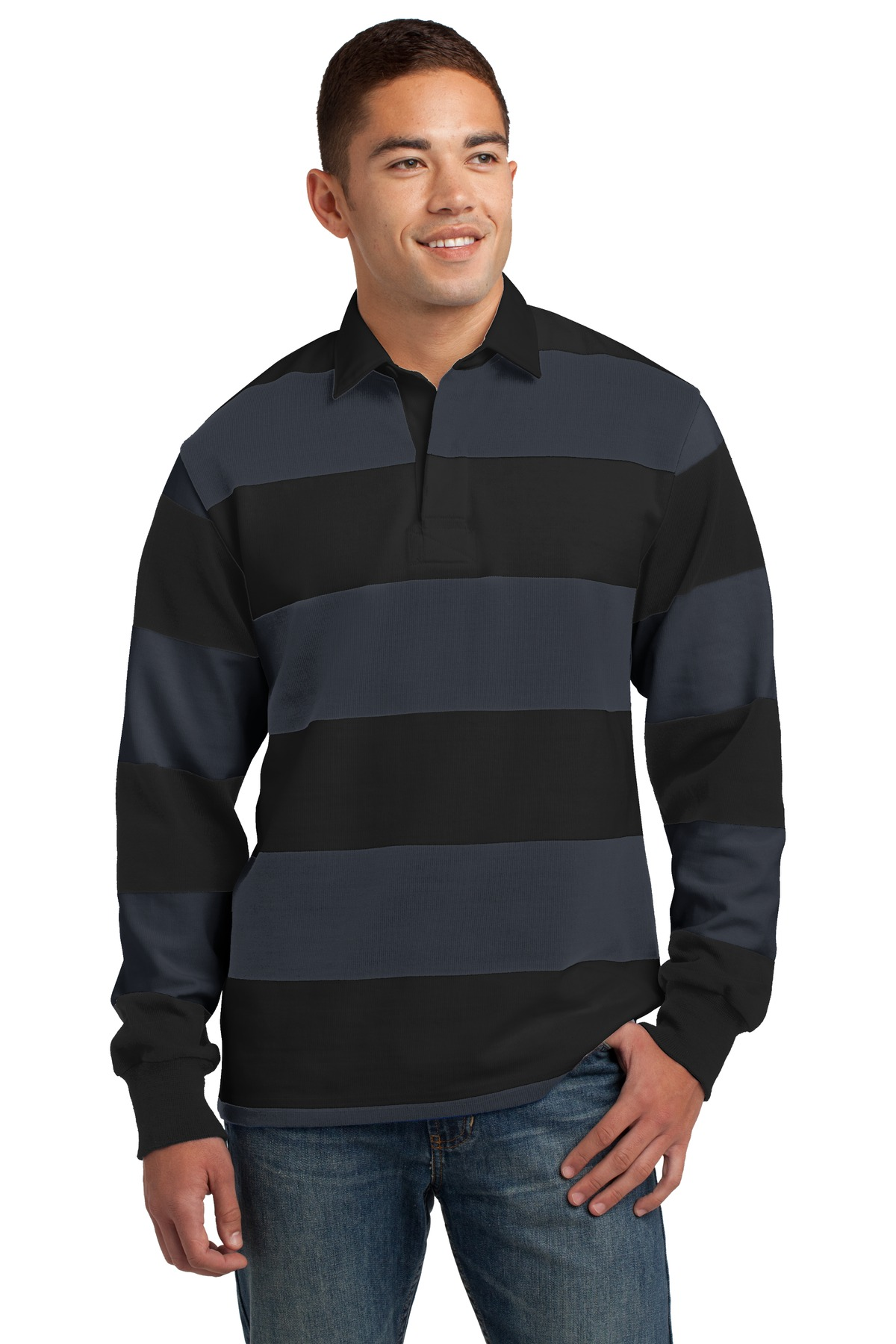 Sport-Tek ®  Classic Long Sleeve Rugby Polo. ST301 - Black/ Graphite Grey