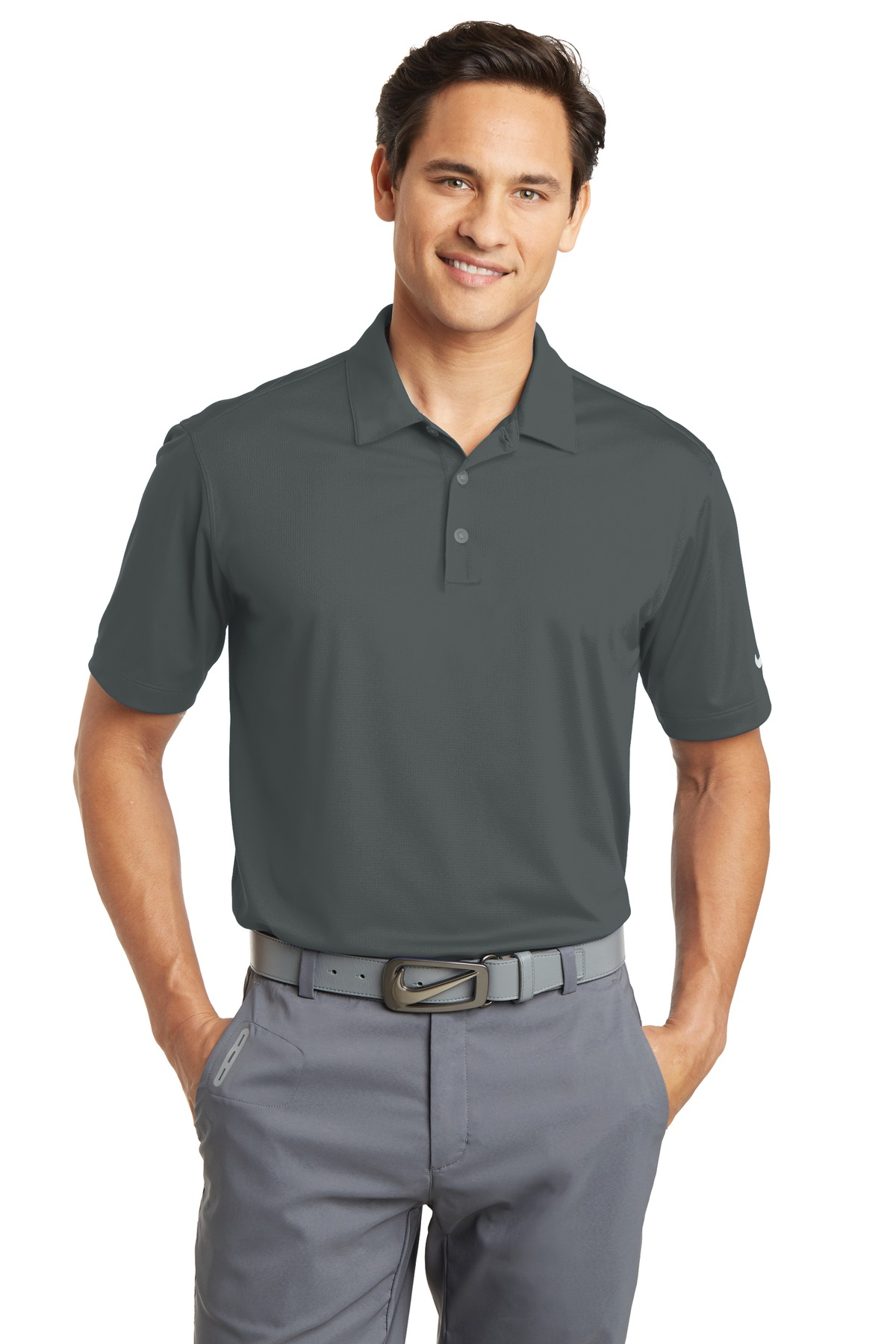 Nike Dri-FIT Vertical Mesh Polo. 637167 - Anthracite