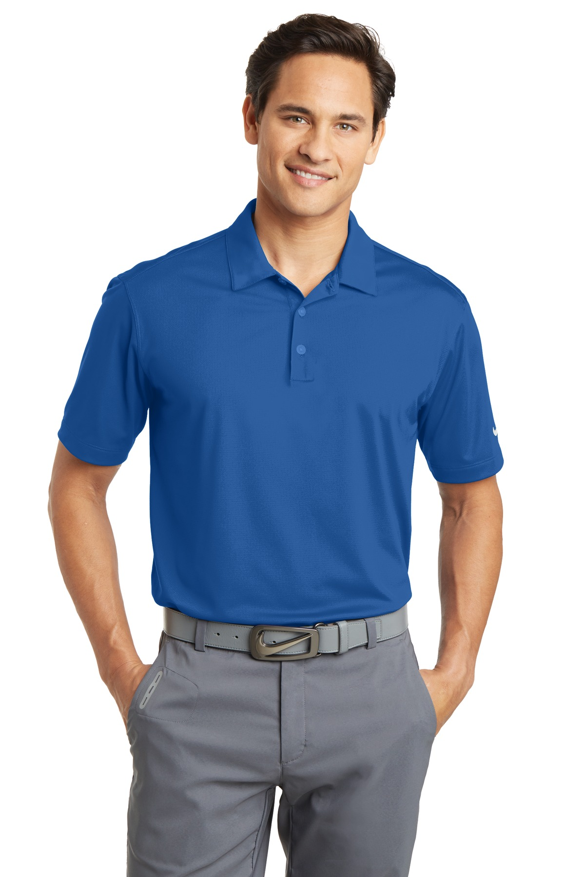 Nike Dri-FIT Vertical Mesh Polo. 637167 - Gym Blue
