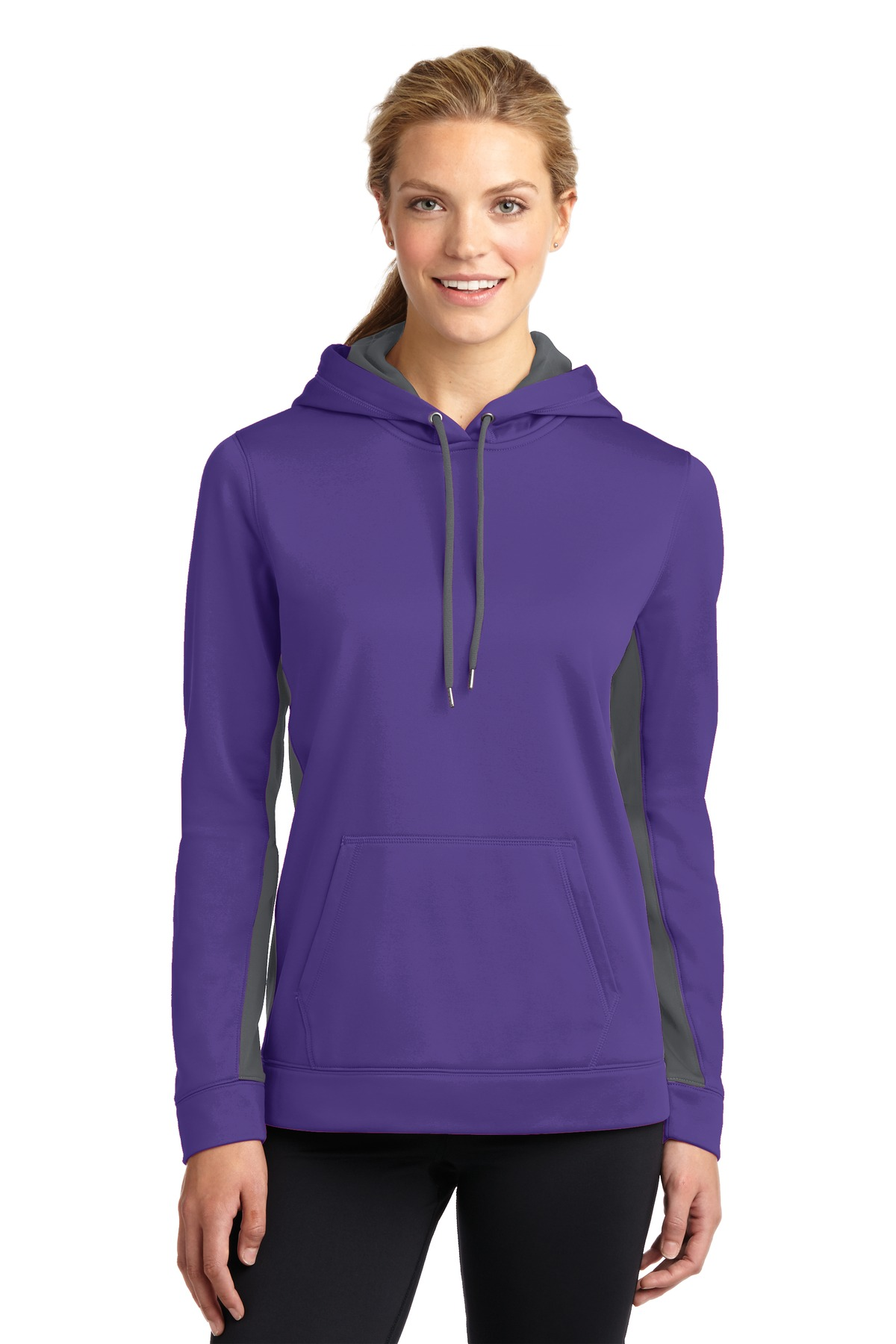 Sport-Tek ®  Ladies Sport-Wick ®  Fleece Colorblock Hooded Pullover. LST235 - Purple/ Dark Smoke Grey