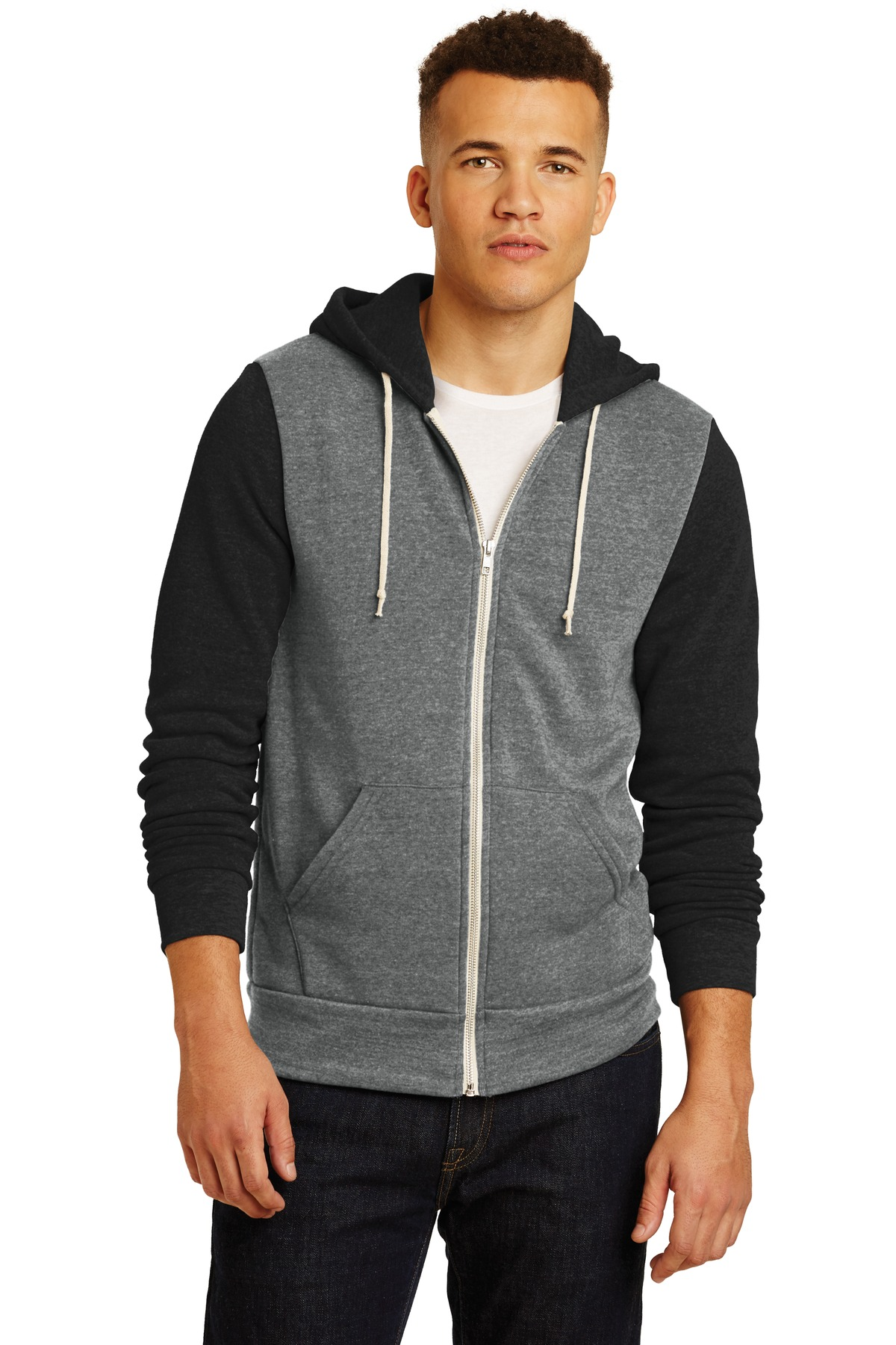 Alternative Colorblock Rocky Eco ™ -Fleece Zip Hoodie. AA32023 - Eco Grey/ Eco True Black
