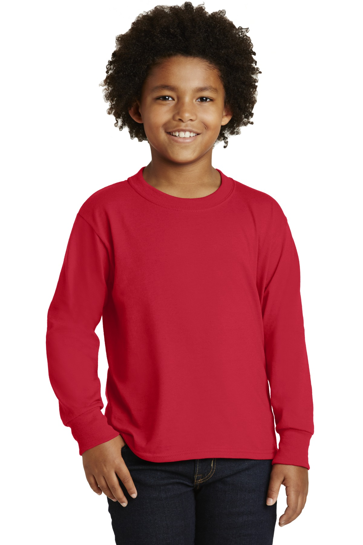 DISCONTINUED JERZEES Youth Dri-Power  Active 50/50 Cotton/Poly Long Sleeve T-Shirt. 29BL