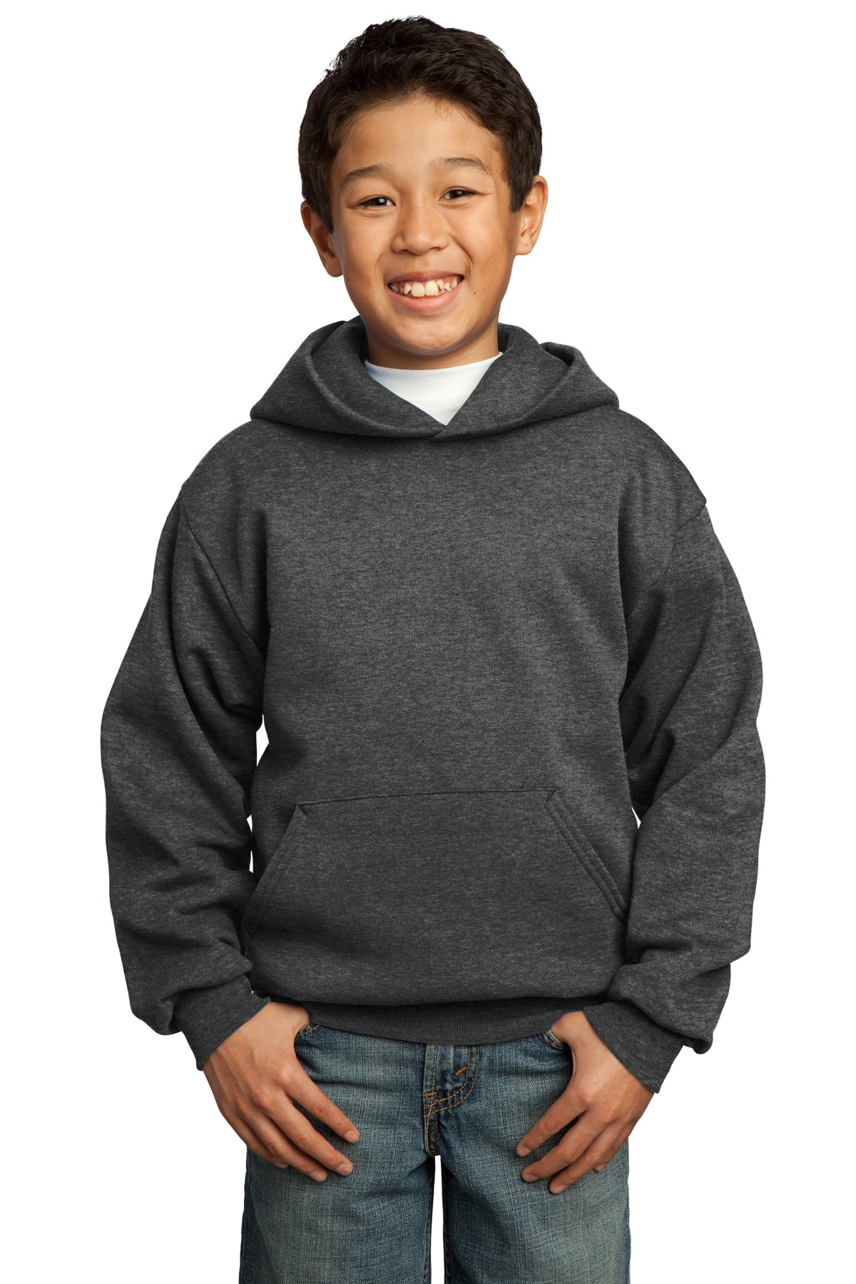 Port & Company ®  - Youth Core Fleece Pullover Hooded Sweatshirt.  PC90YH - Dark Heather Grey