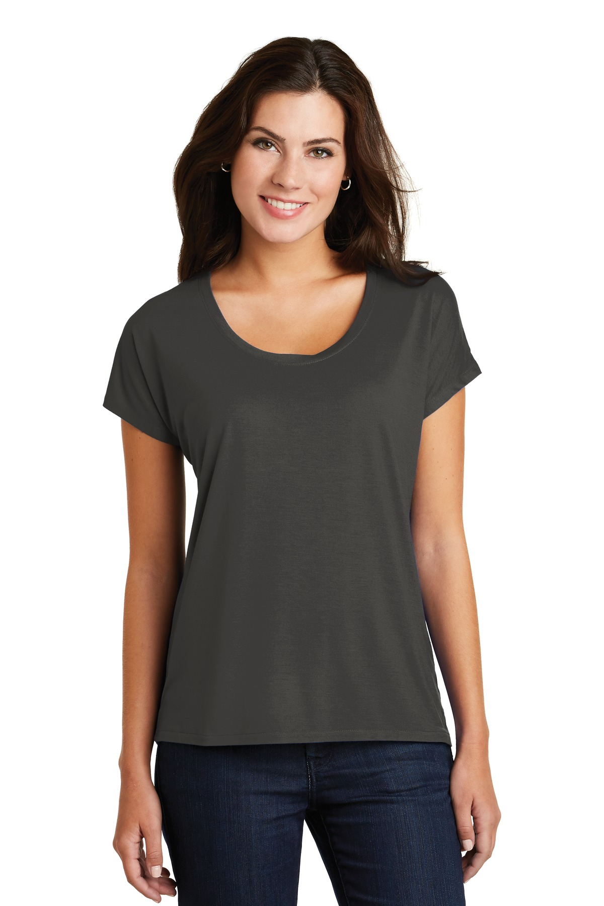 District  ®  Women's Drapey Dolman Tee. DM412 - Charcoal