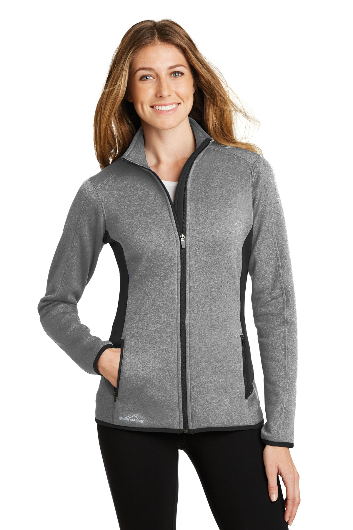 Eddie Bauer Ladies Full-Zip Heather Stretch Fleece Jacket. EB239