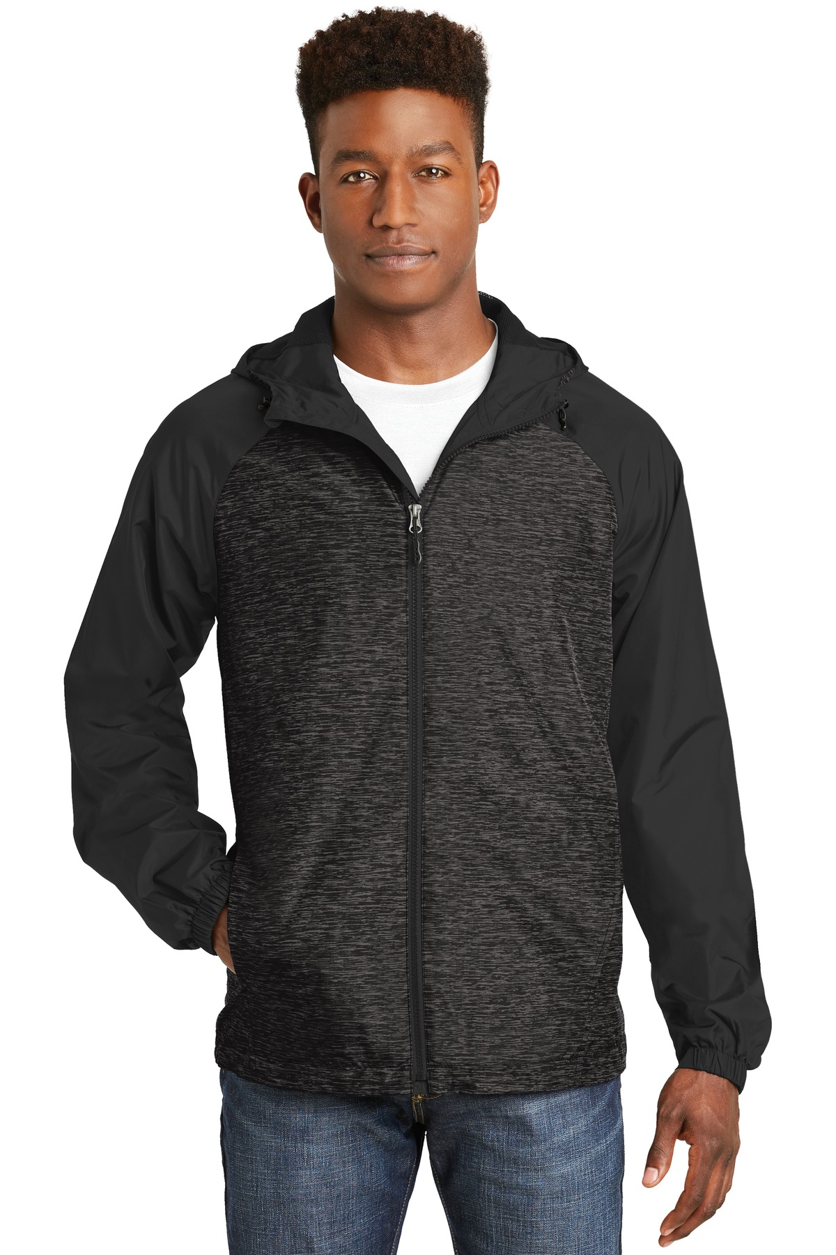 Sport-Tek ®  Heather Colorblock Raglan Hooded Wind Jacket. JST40 - Black Heather/ Black
