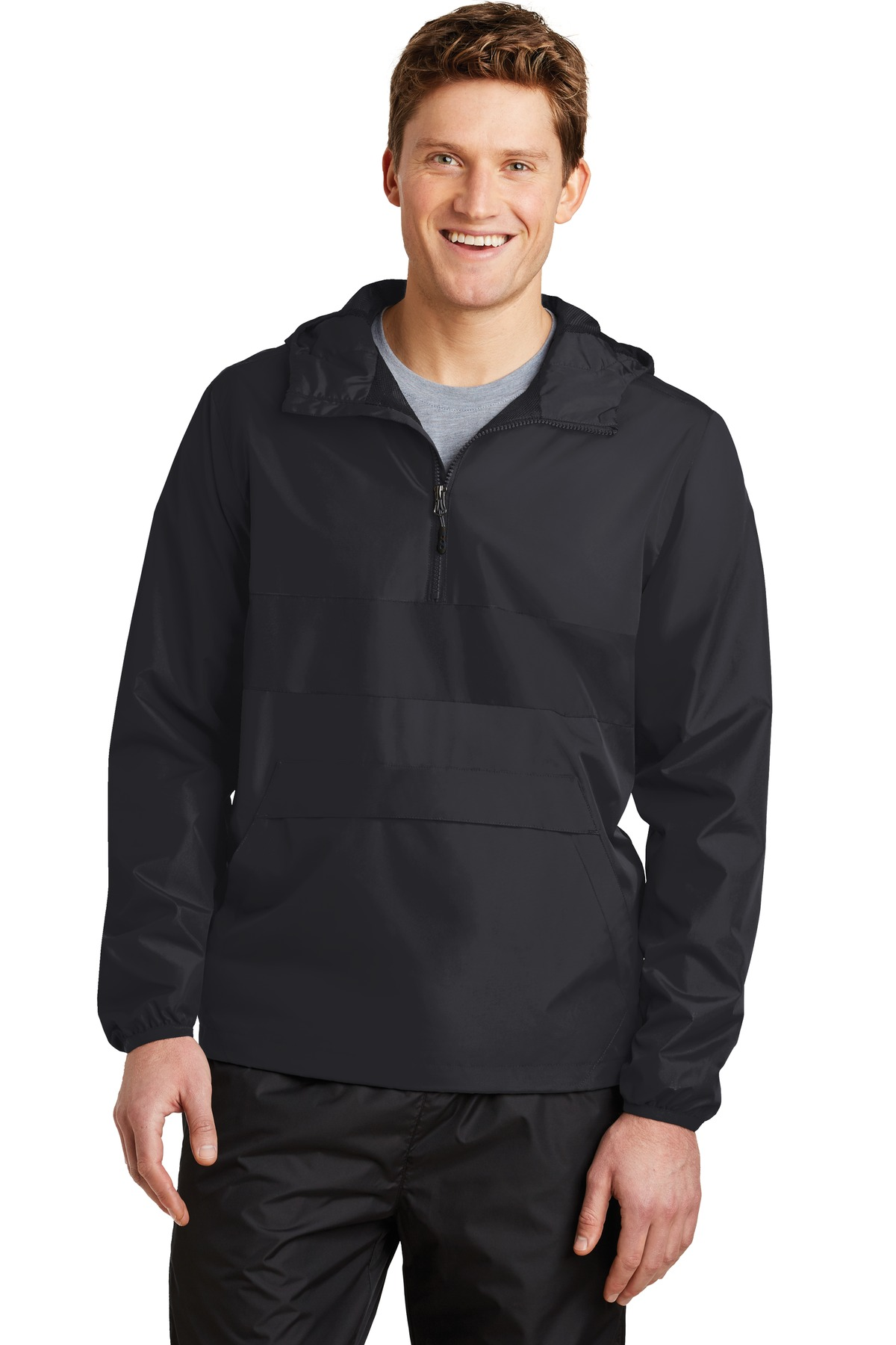 Sport-Tek ®  Zipped Pocket Anorak. JST65 - Black/ Black