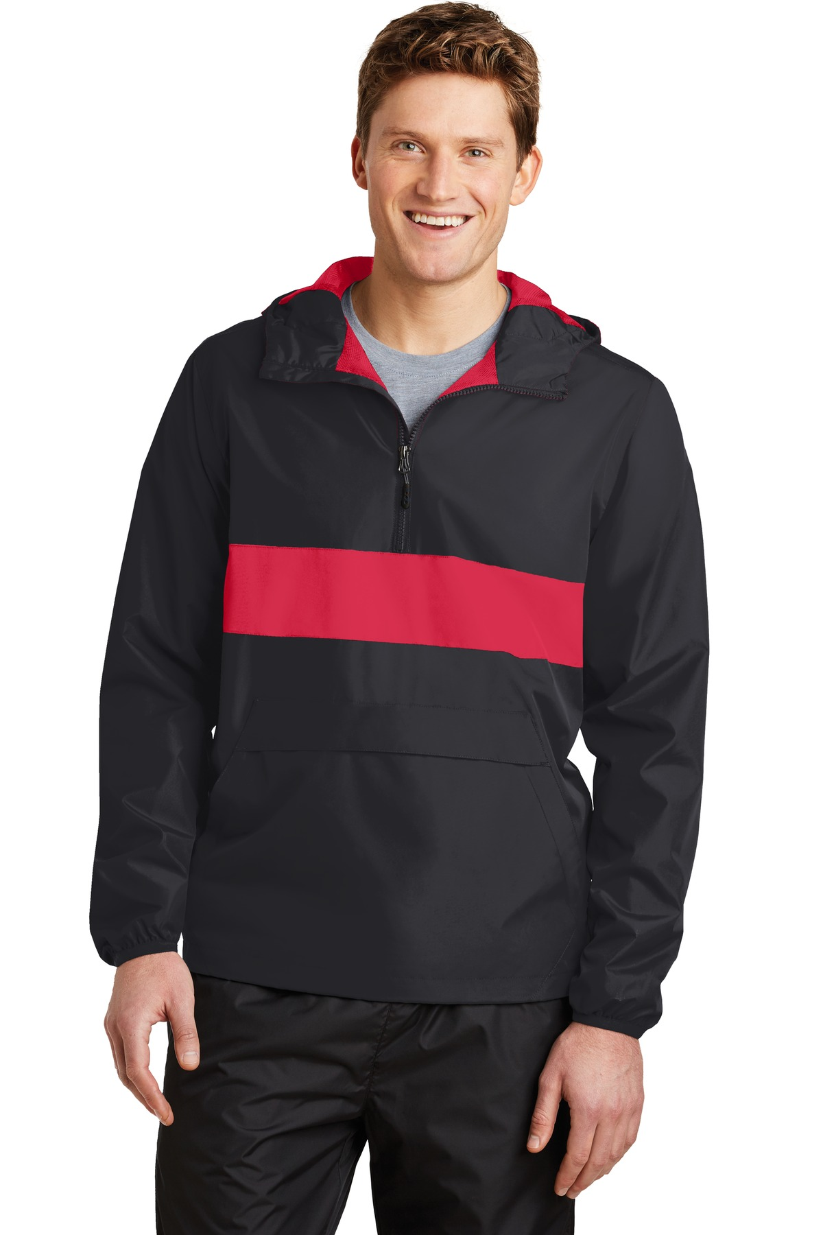 Sport-Tek ®  Zipped Pocket Anorak. JST65 - Black/ True Red
