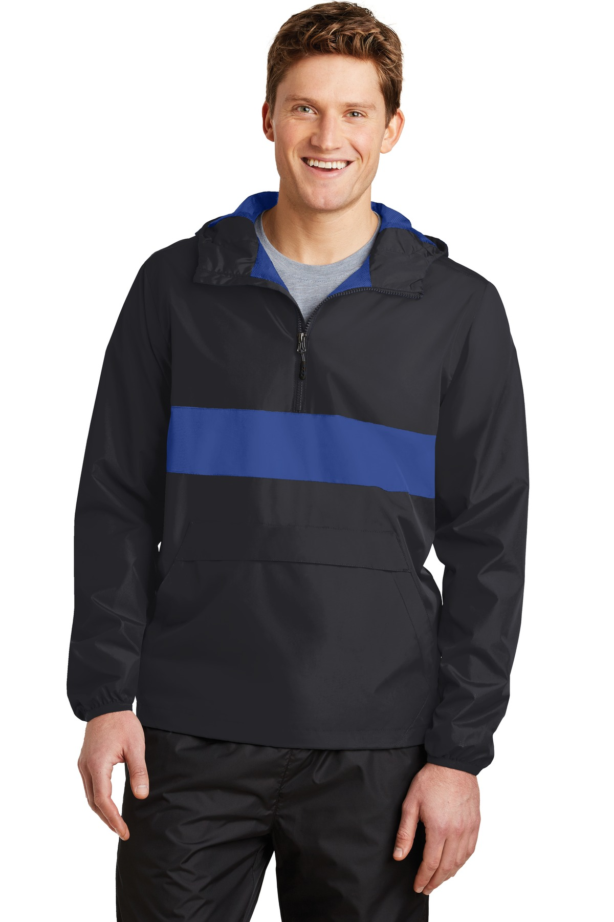 Sport-Tek ®  Zipped Pocket Anorak. JST65 - Black/ True Royal