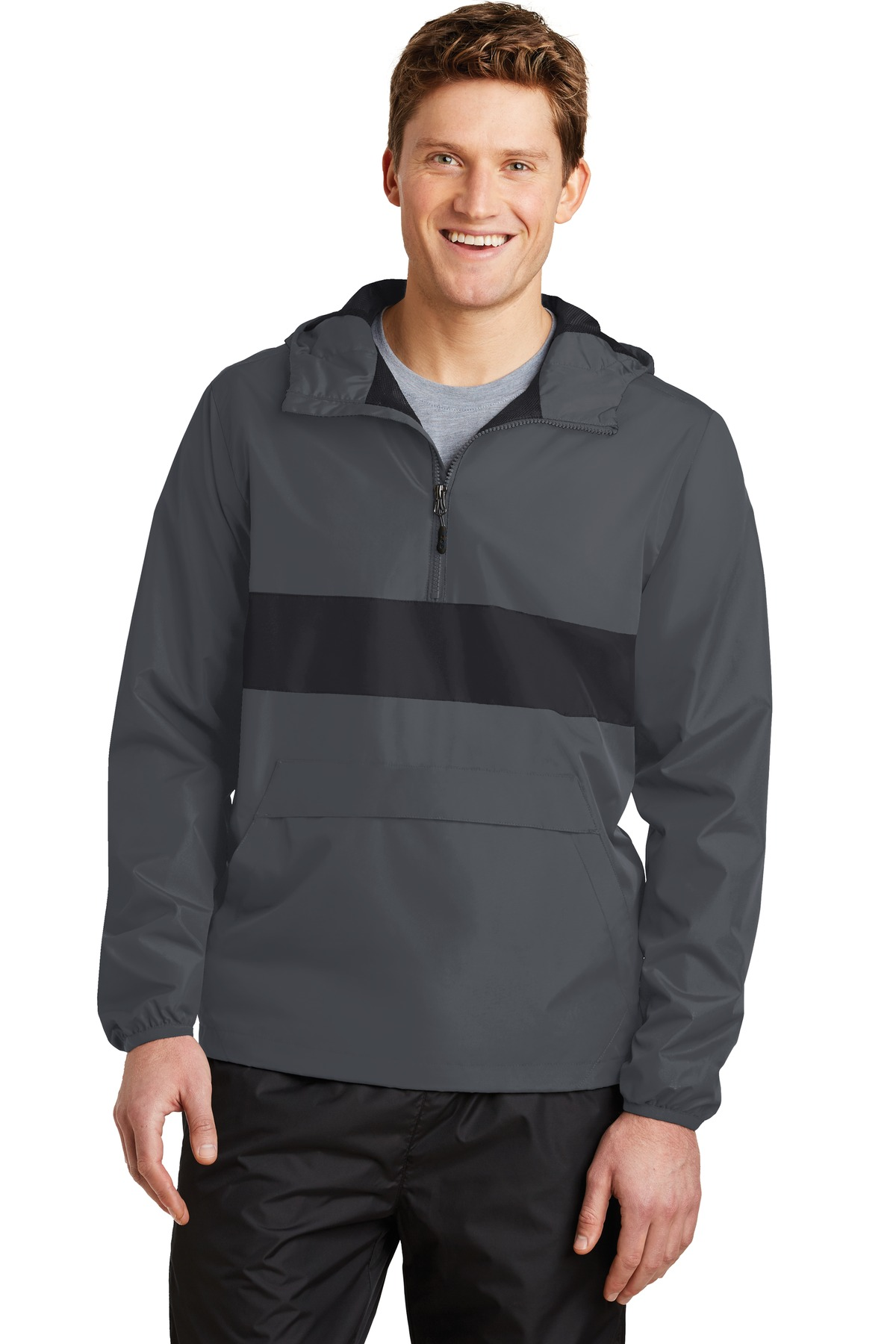 Sport-Tek ®  Zipped Pocket Anorak. JST65 - Graphite Grey/ Black