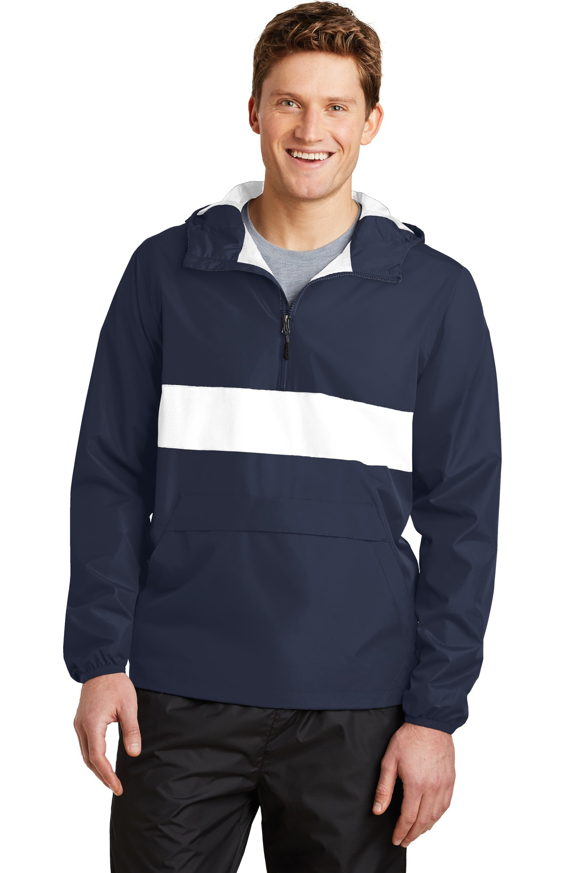 Sport-Tek ®  Zipped Pocket Anorak. JST65 - True Navy/ White