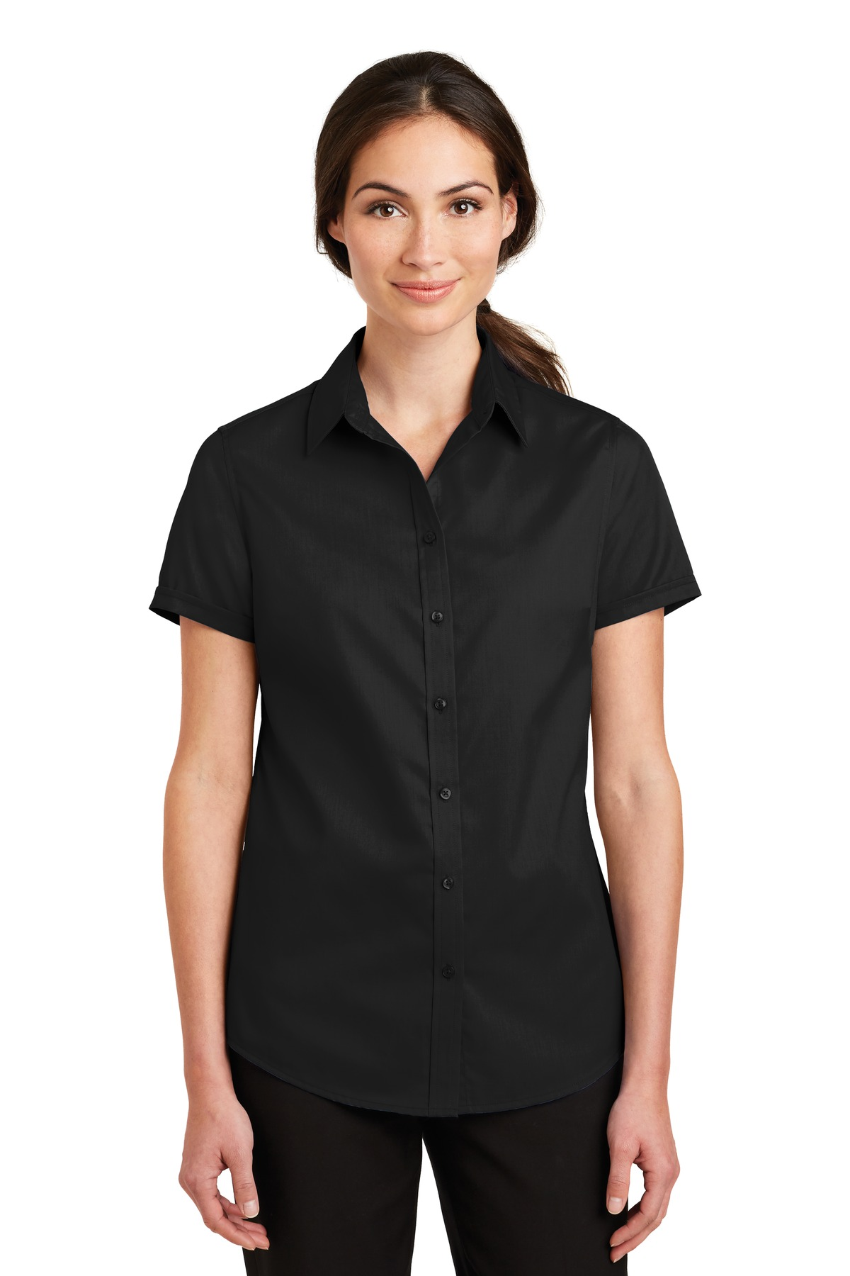Port Authority ®  Ladies Short Sleeve SuperPro ™  Twill Shirt. L664 - Black