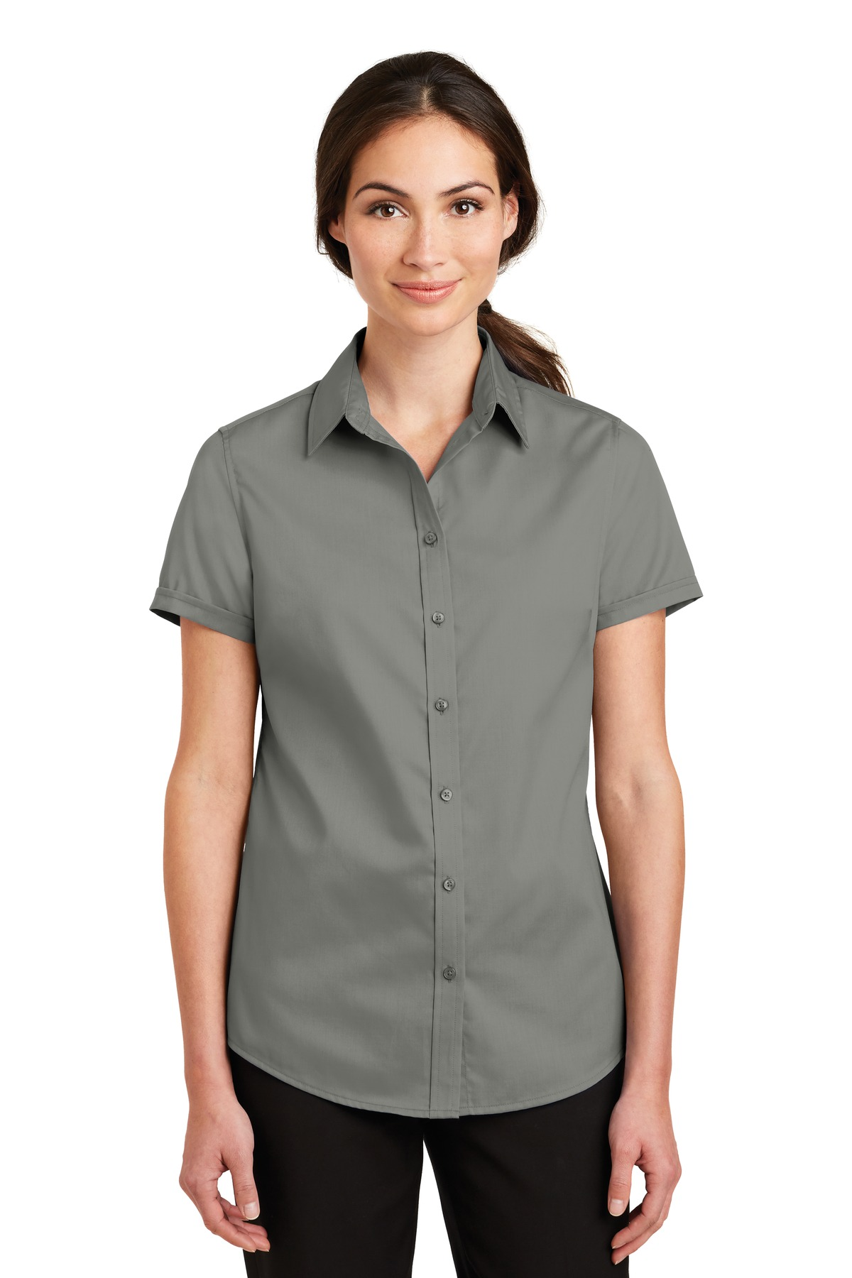 Port Authority ®  Ladies Short Sleeve SuperPro ™  Twill Shirt. L664 - Monument Grey