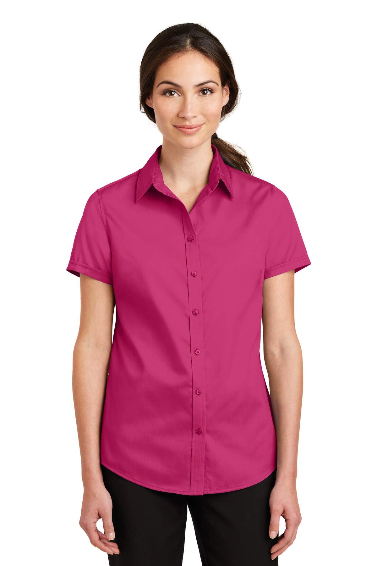 Port Authority ®  Ladies Short Sleeve SuperPro ™  Twill Shirt. L664 - Pink Azalea