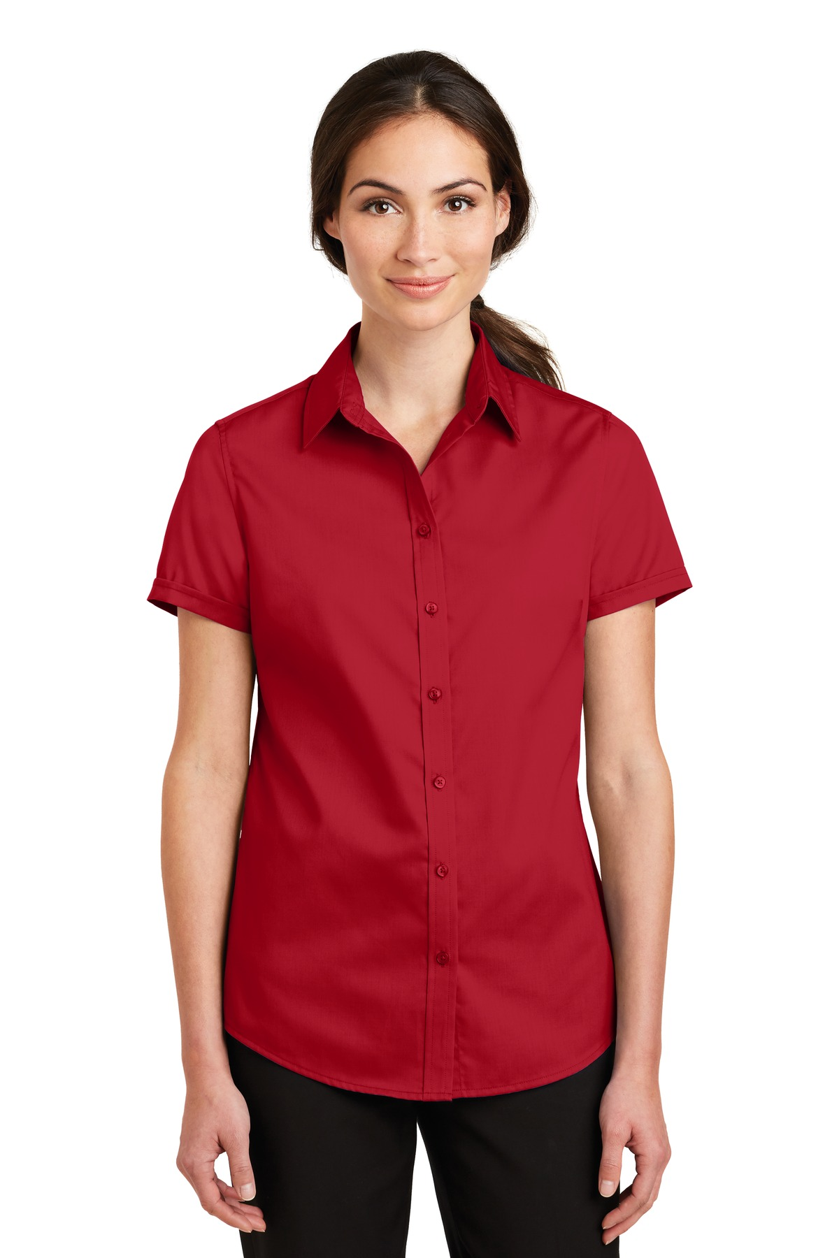 Port Authority ®  Ladies Short Sleeve SuperPro ™  Twill Shirt. L664 - Rich Red