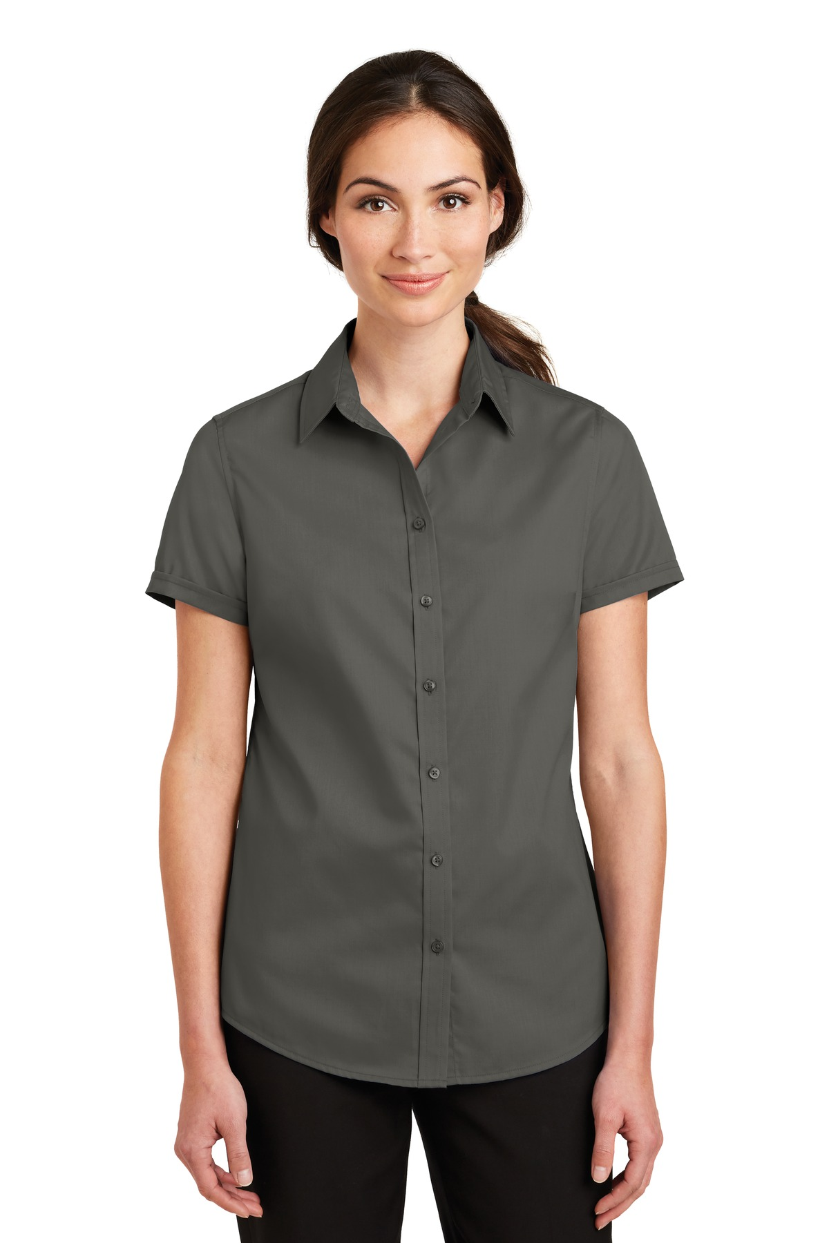 Port Authority ®  Ladies Short Sleeve SuperPro ™  Twill Shirt. L664 - Sterling Grey