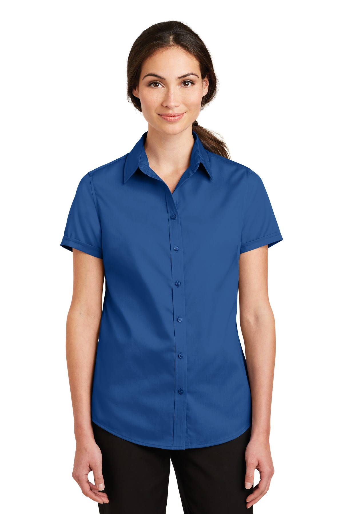 Port Authority ®  Ladies Short Sleeve SuperPro ™  Twill Shirt. L664 - True Blue