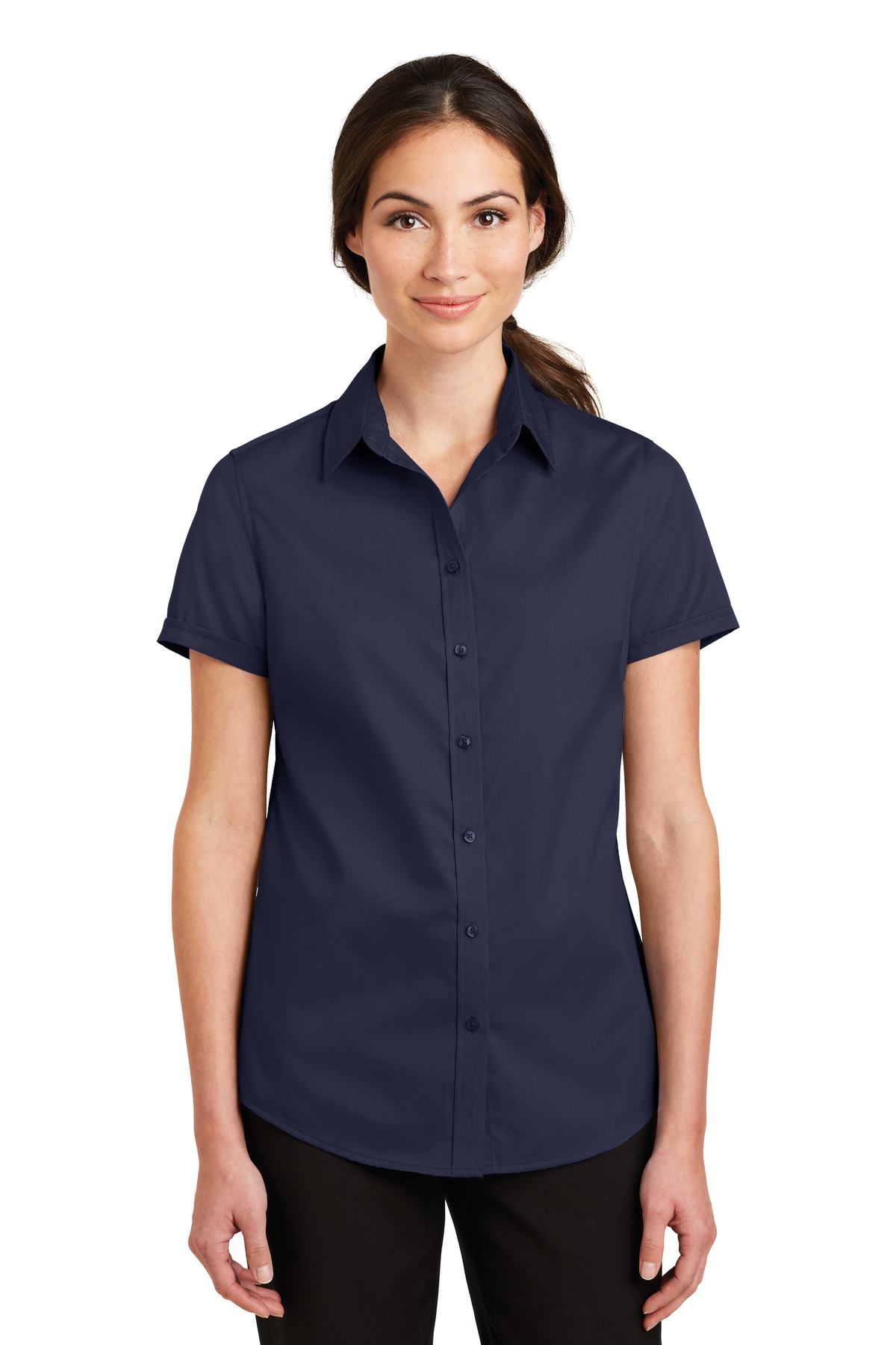 Port Authority ®  Ladies Short Sleeve SuperPro ™  Twill Shirt. L664 - True Navy