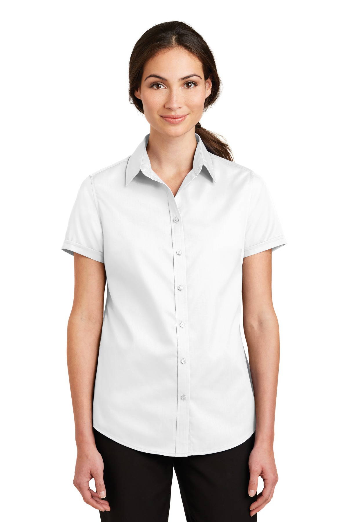 Port Authority ®  Ladies Short Sleeve SuperPro ™  Twill Shirt. L664 - White